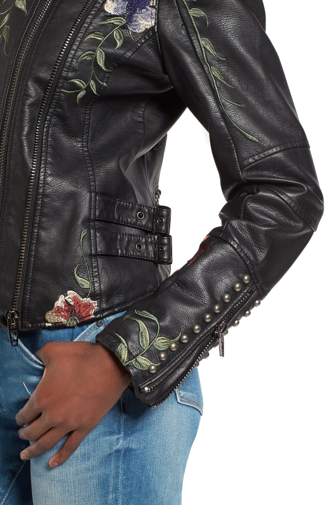 BLANKNYC, Embroidered Faux Leather Moto Jacket, Alternate thumbnail 4, color, 001