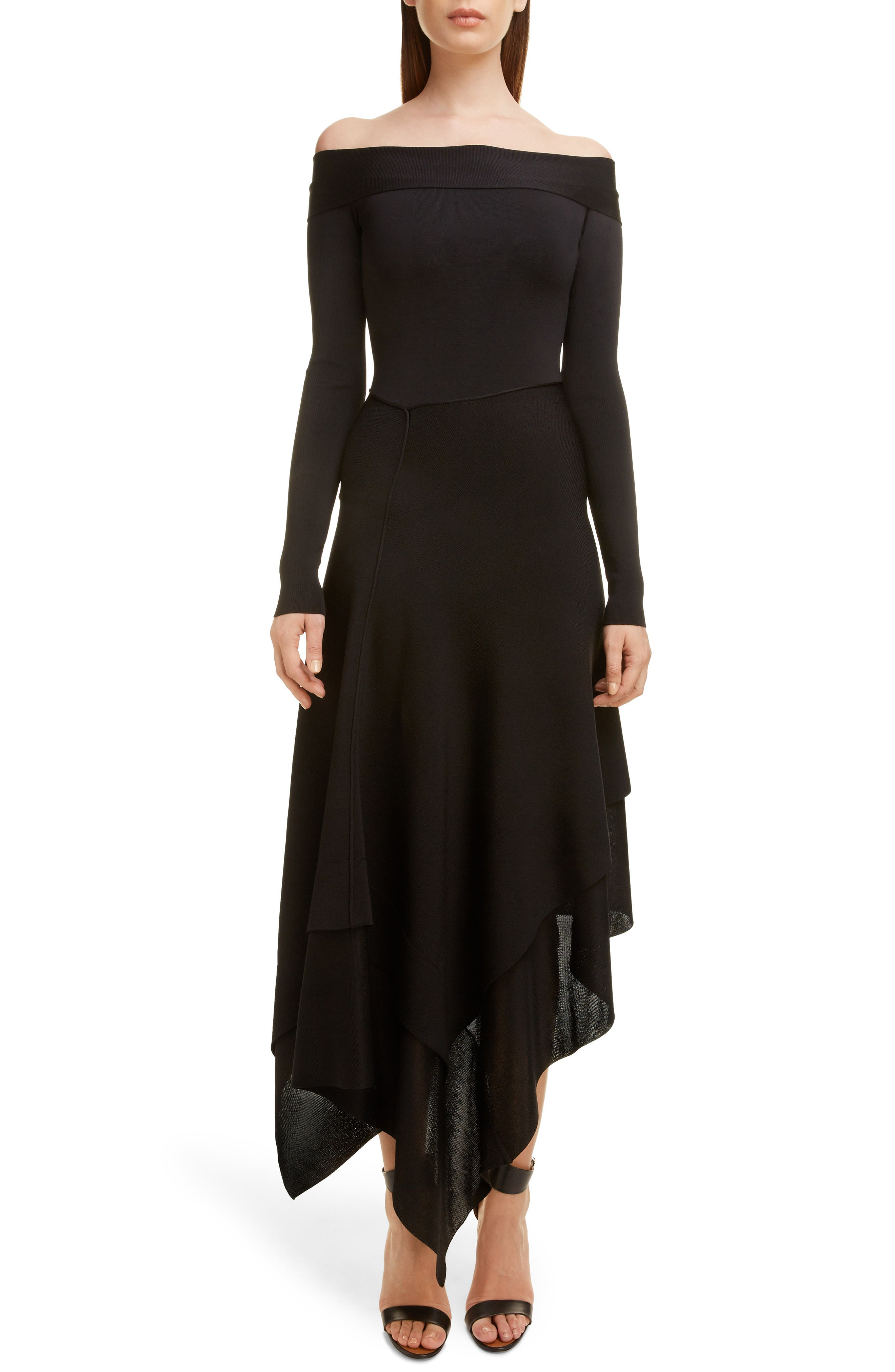 VICTORIA BECKHAM, Long Sleeve Off the Shoulder Asymmetrical Dress, Main thumbnail 1, color, BLACK