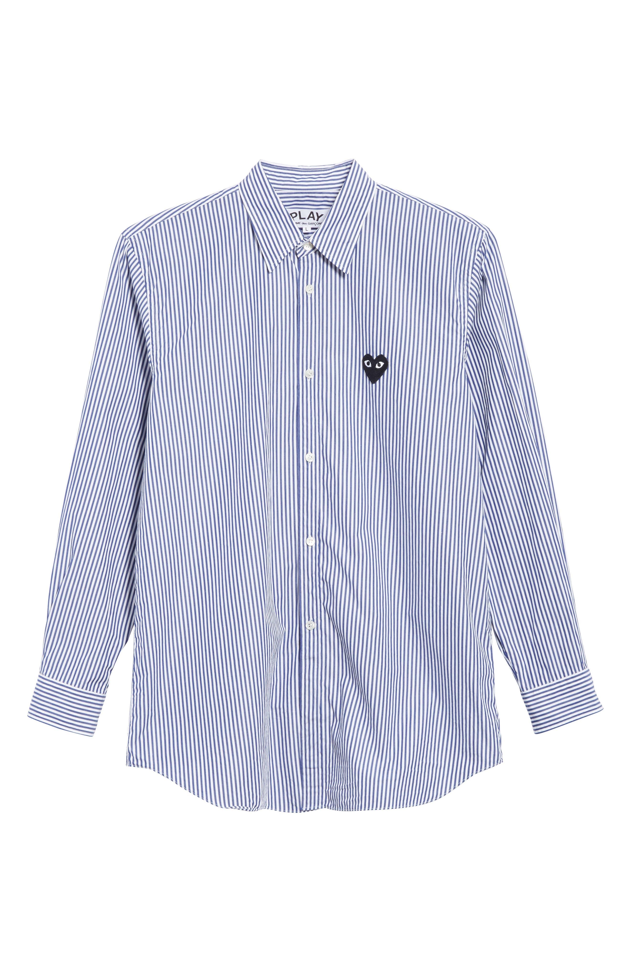 COMME DES GARÇONS PLAY, Stripe Woven Shirt, Alternate thumbnail 6, color, BLUE