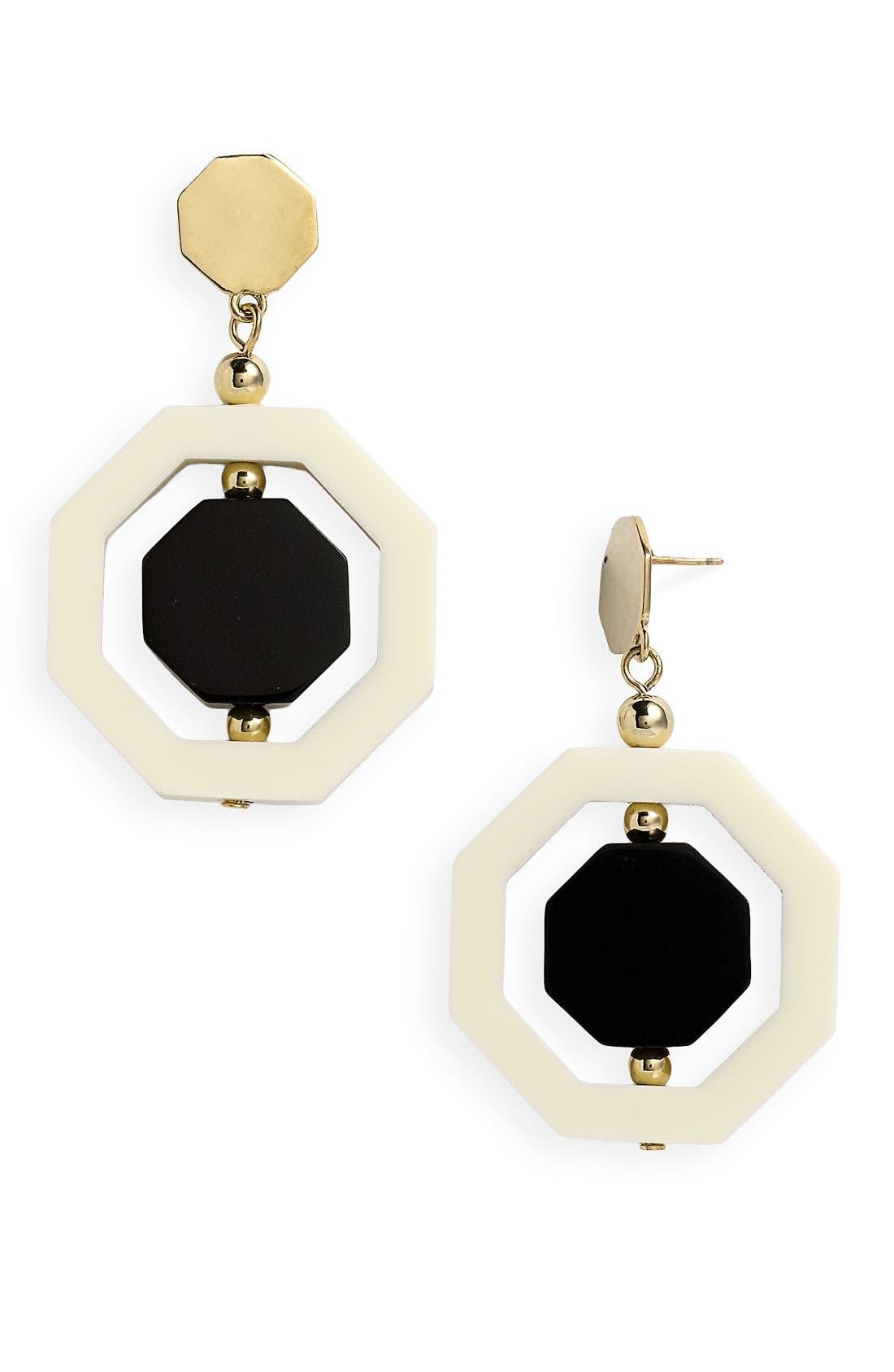 KATE SPADE NEW YORK, 'octagonal' drop earrings, Main thumbnail 1, color, 001