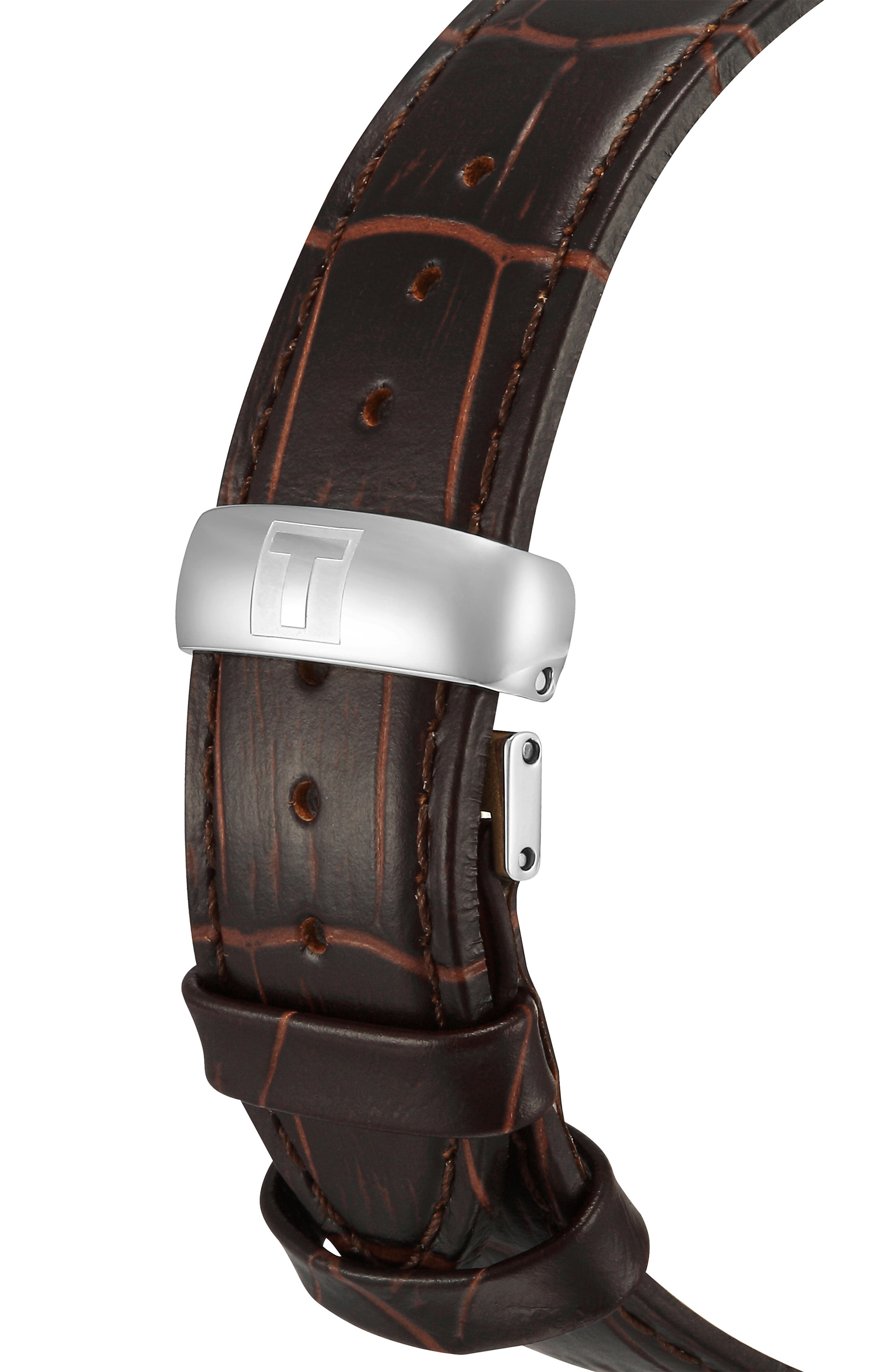 TISSOT, Tradition Leather Strap Watch, 42mm, Alternate thumbnail 7, color, BROWN/ SILVER