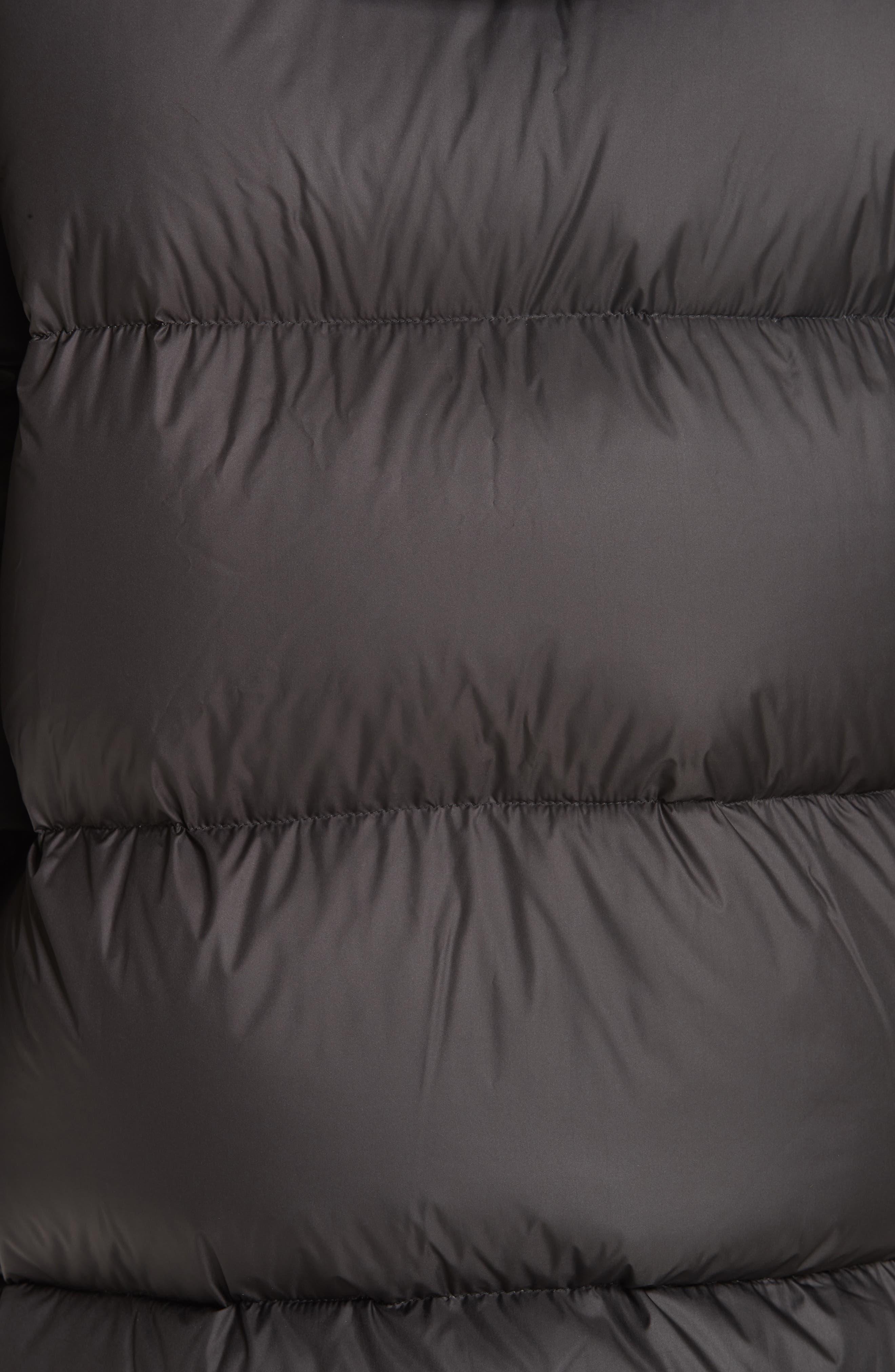 MR & MRS ITALY, Genuine Fox Fur Trim Down Fill Puffer Coat, Alternate thumbnail 8, color, BLACK