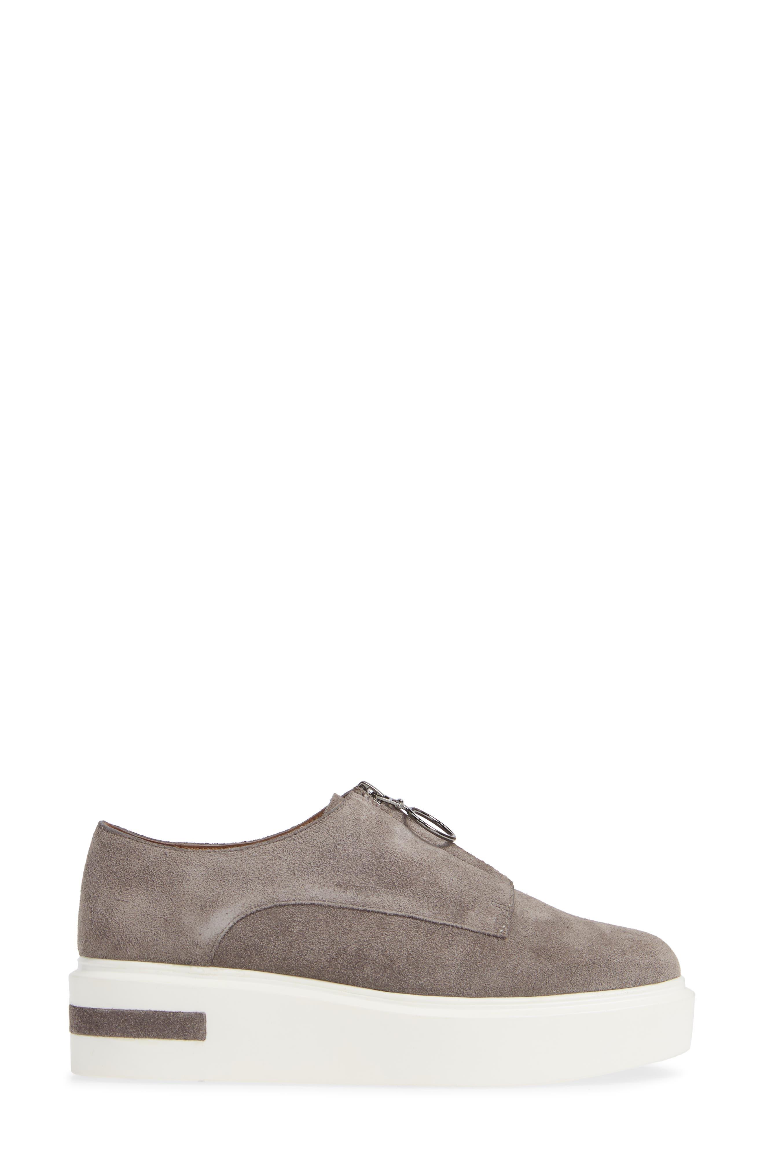 LINEA PAOLO, Kelani Platform Sneaker, Alternate thumbnail 3, color, STONE SUEDE