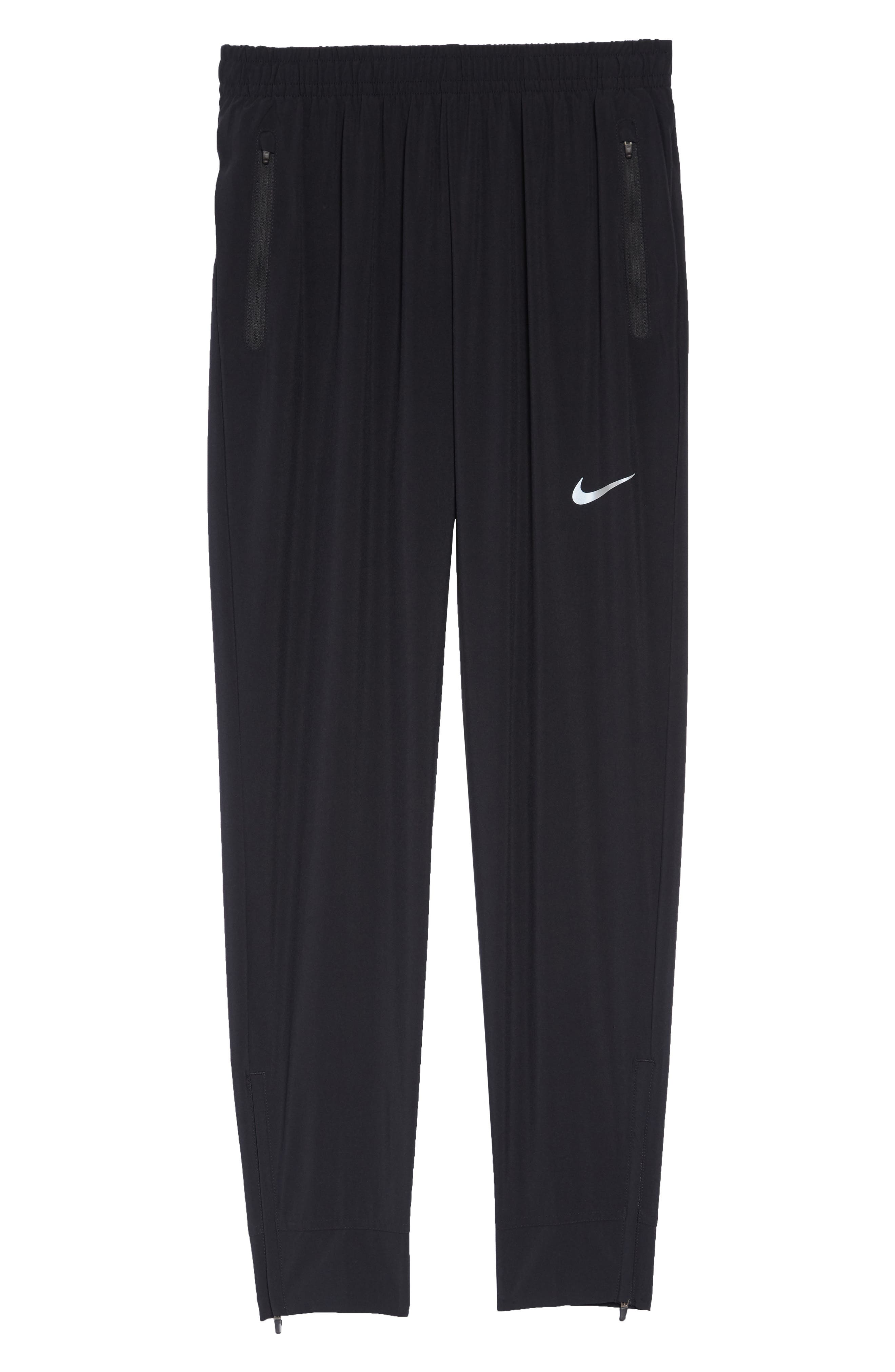 NIKE, Essential Woven Track Pants, Alternate thumbnail 7, color, BLACK