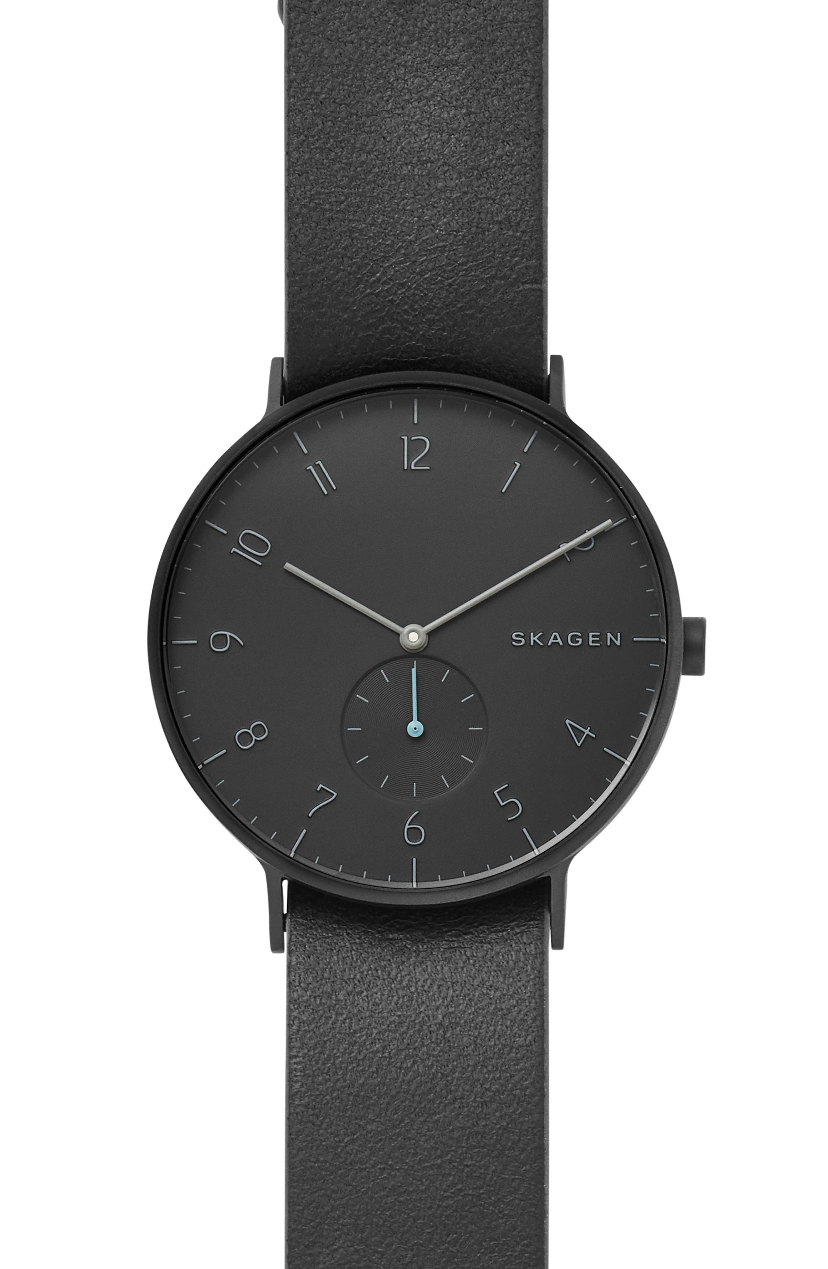SKAGEN Aaren Reversible Leather Strap Watch, 40mm, Main, color, 001