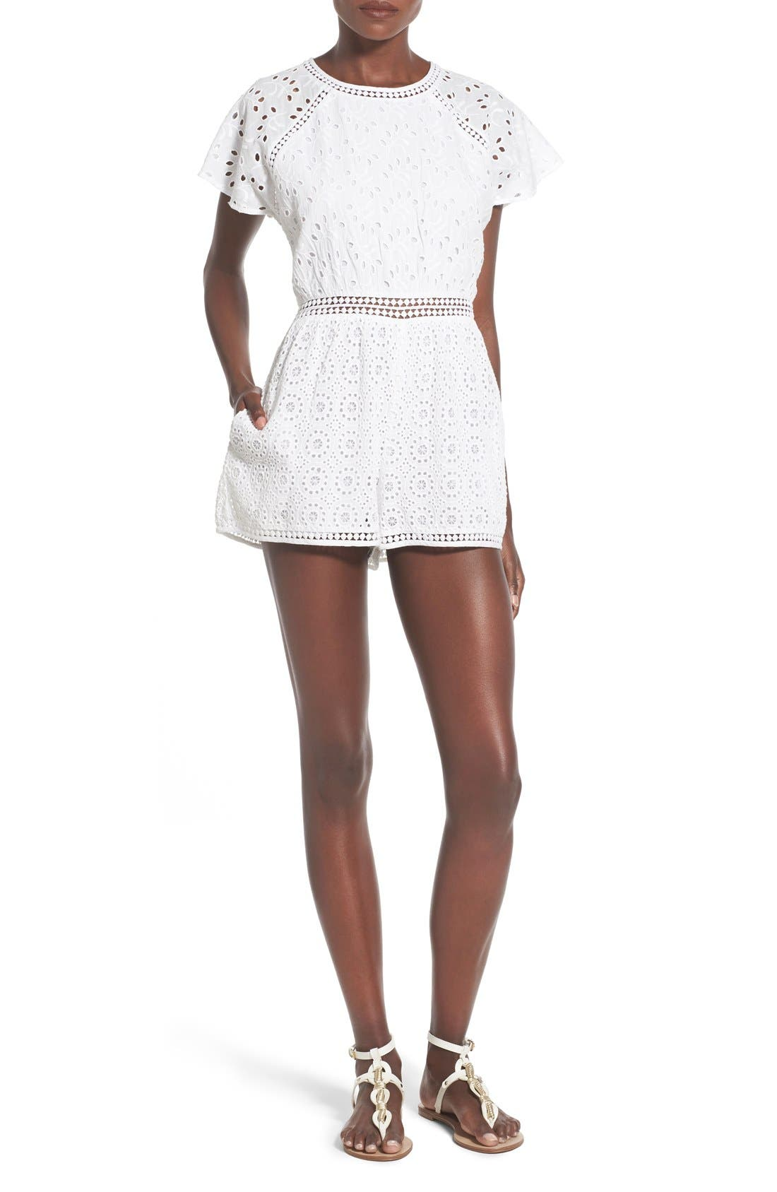 TULAROSA, 'Brynn' Embroidered Eyelet Romper, Main thumbnail 1, color, 100