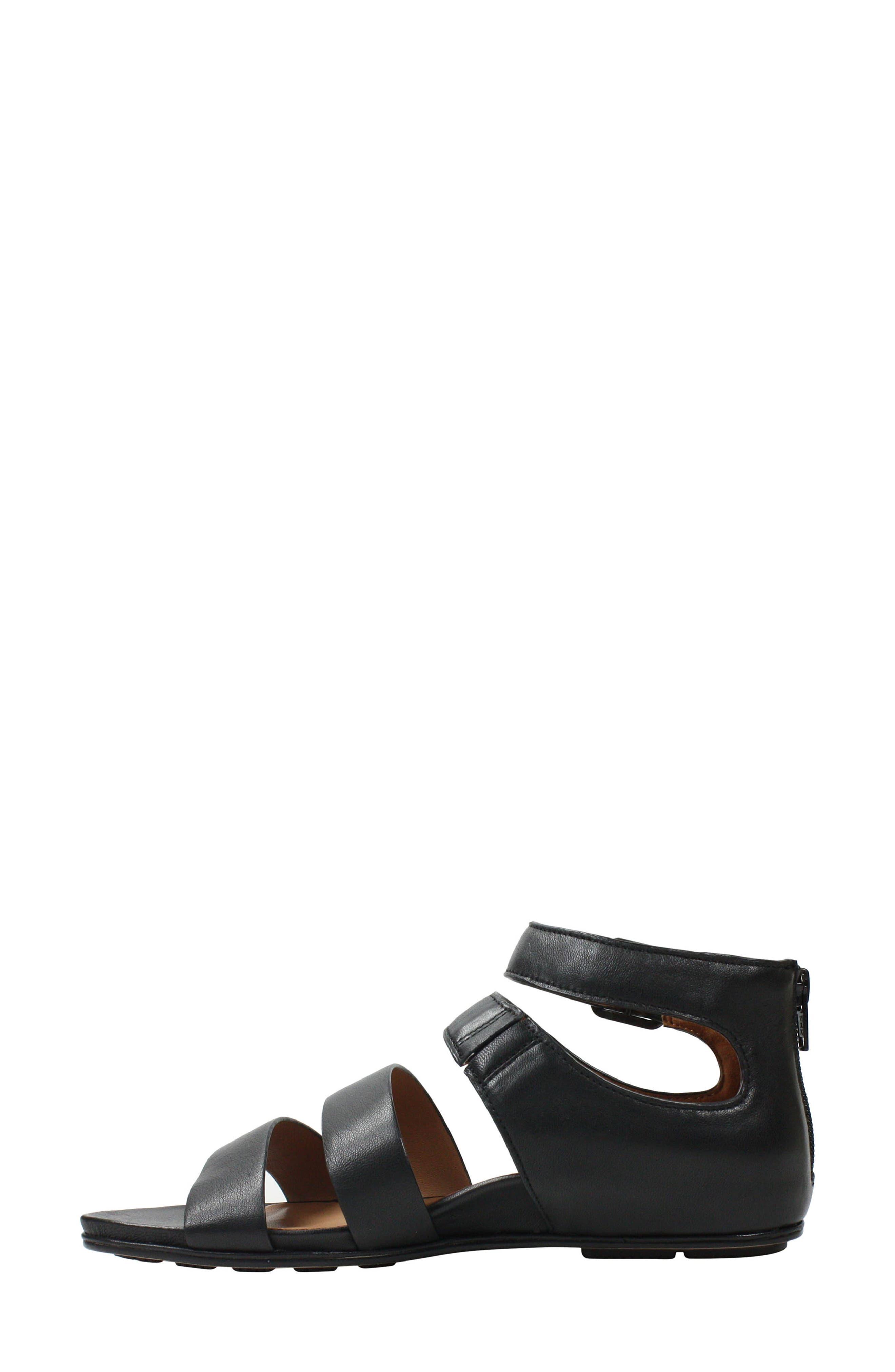 L'AMOUR DES PIEDS, Doroteia Sandal, Alternate thumbnail 6, color, BLACK LEATHER