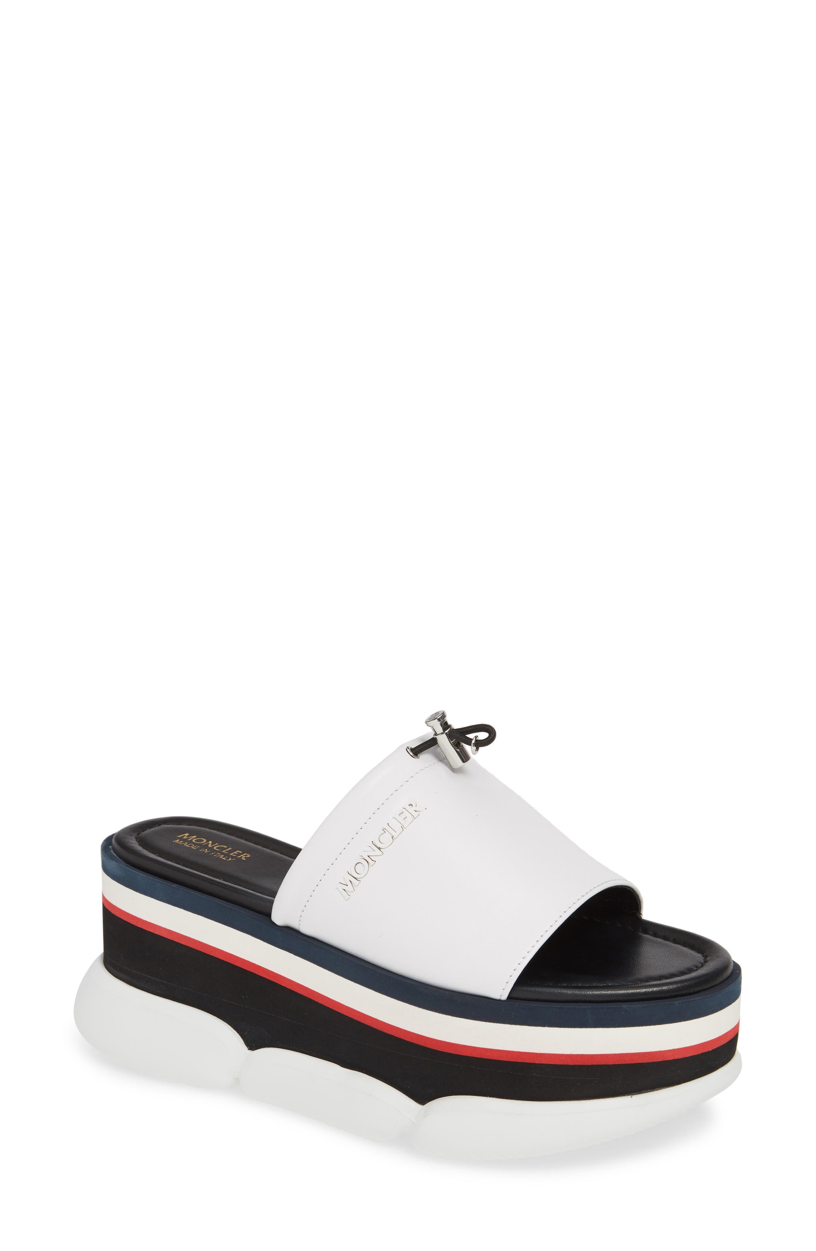 MONCLER, Zaira Platform Slide Sandal, Main thumbnail 1, color, WHITE
