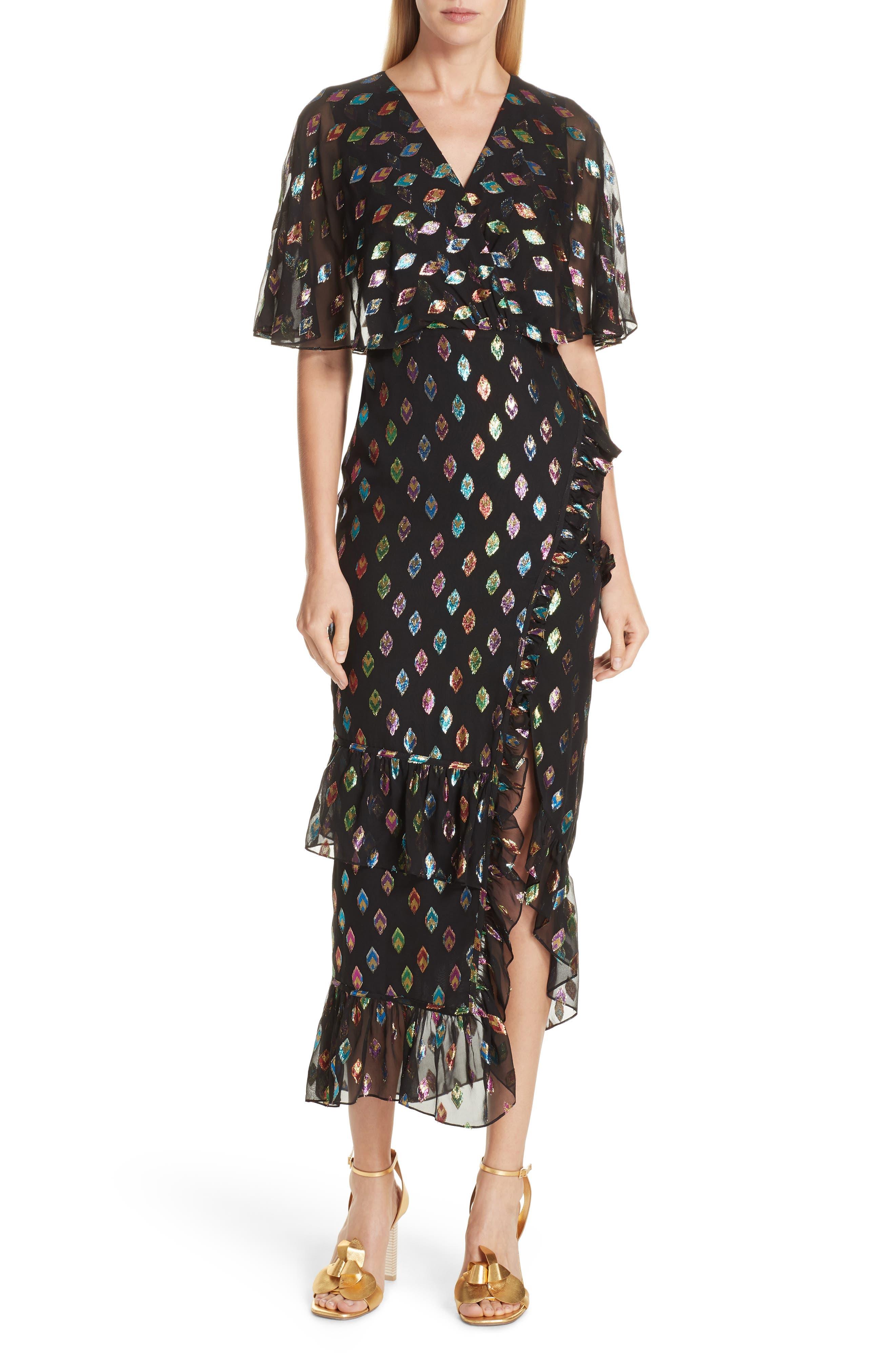 SALONI, Ruffle Hem Silk Blend Dress, Main thumbnail 1, color, 003