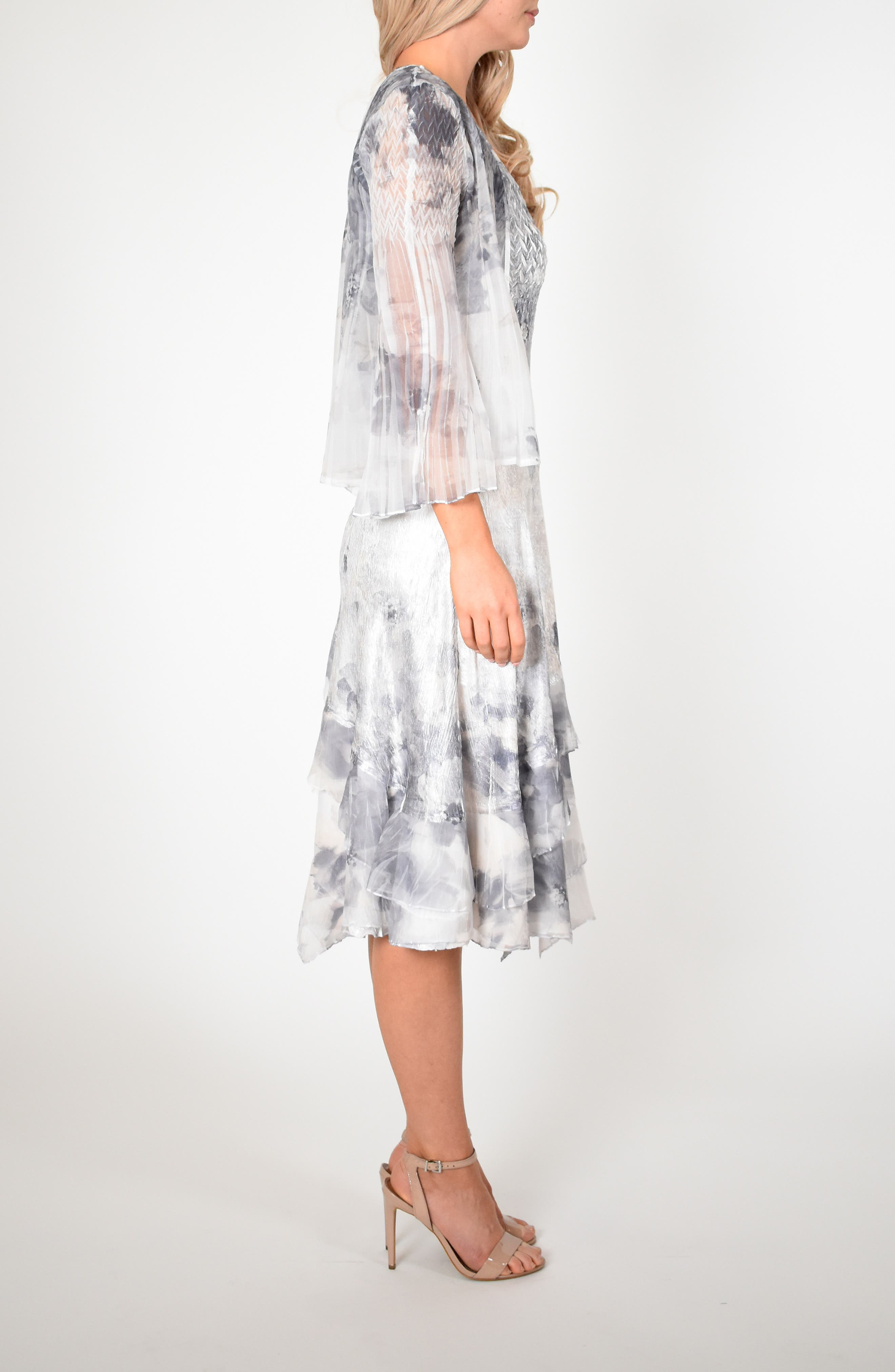 KOMAROV, Floral Charmeuse & Chiffon Dress with Jacket, Alternate thumbnail 8, color, FROSTED PETAL