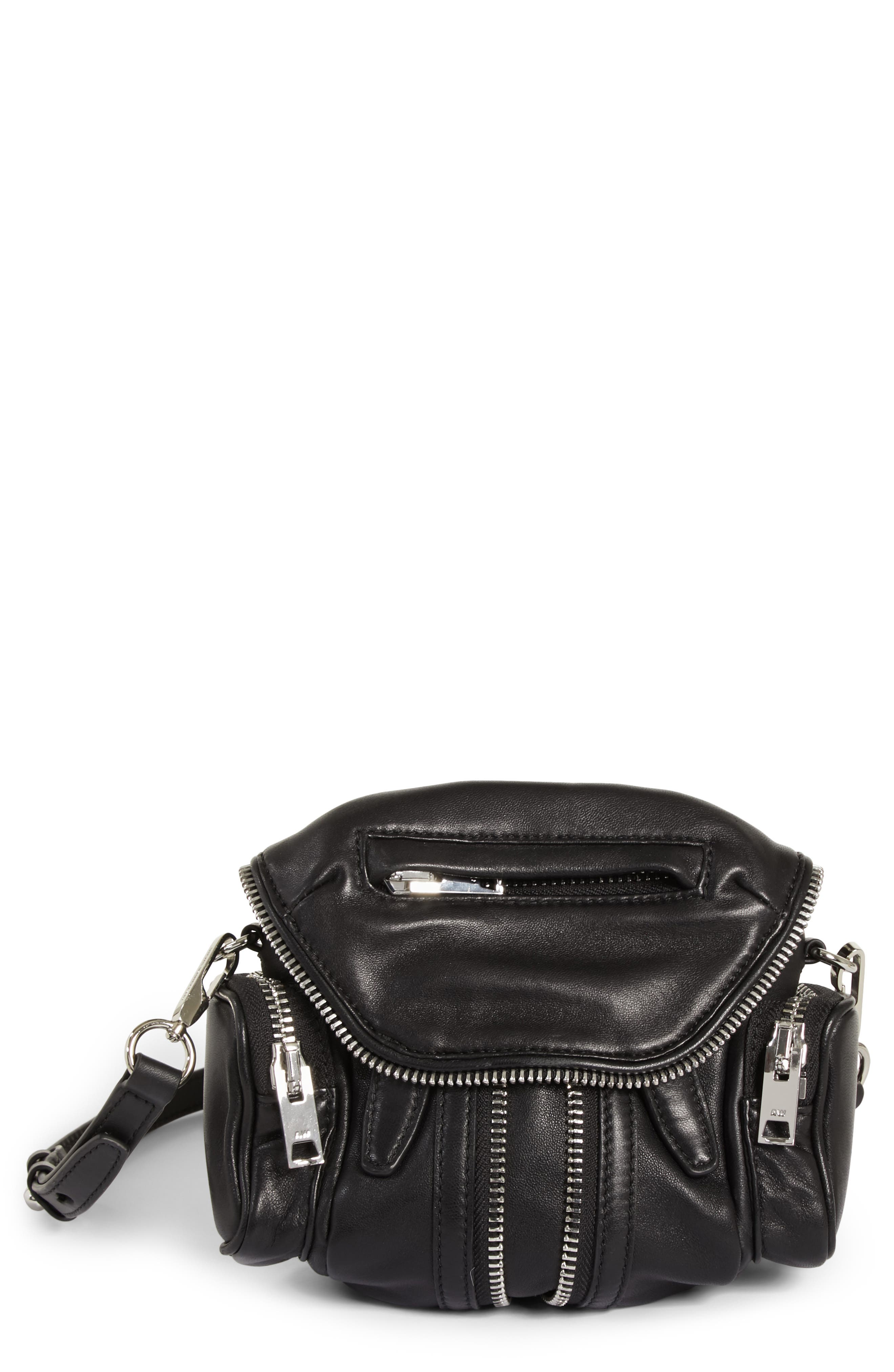 ALEXANDER WANG, Mini Marti Leather Crossbody Bag, Main thumbnail 1, color, BLACK