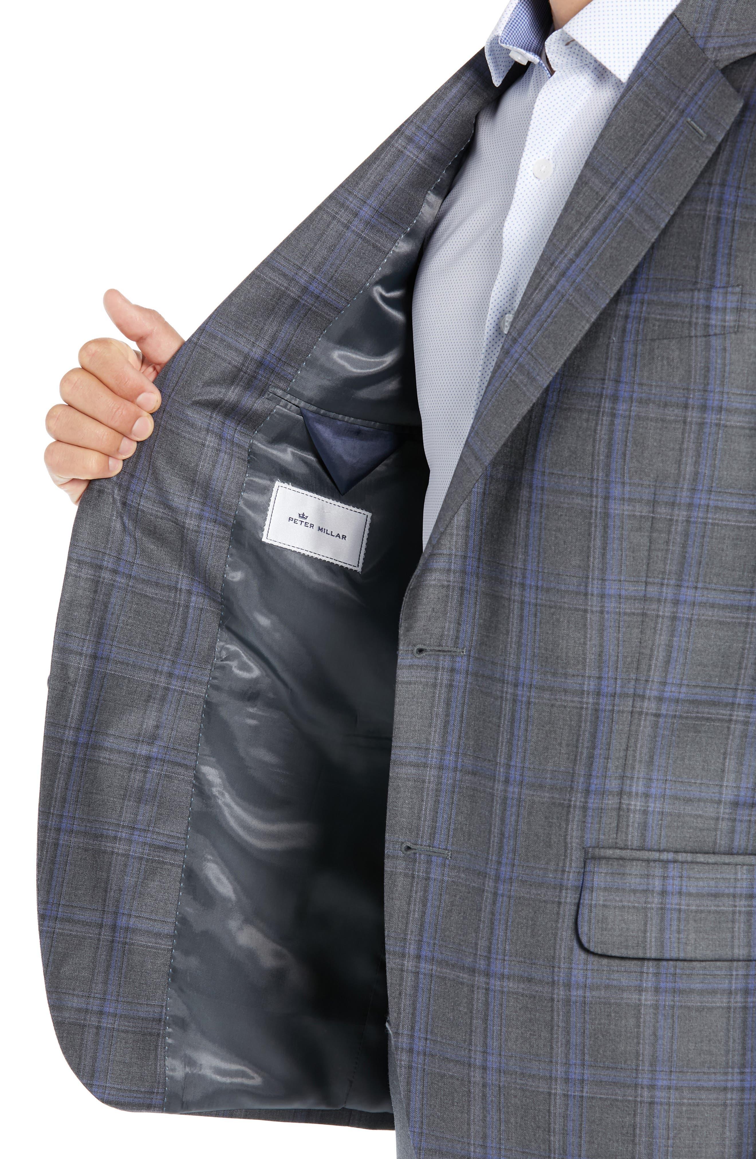 PETER MILLAR, Classic Fit Grey Plaid Sport Coat, Alternate thumbnail 4, color, GREY