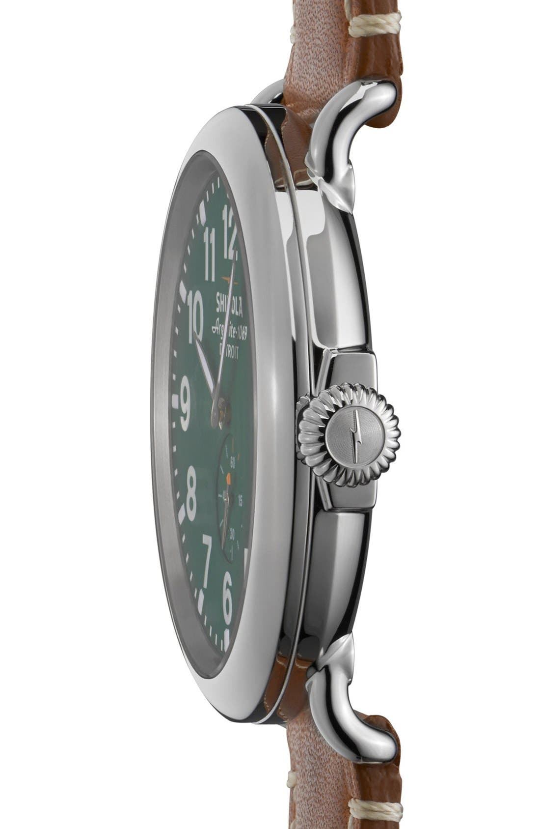 SHINOLA, 'The Runwell' Leather Strap Watch, 47mm, Alternate thumbnail 3, color, BROWN/ GREEN