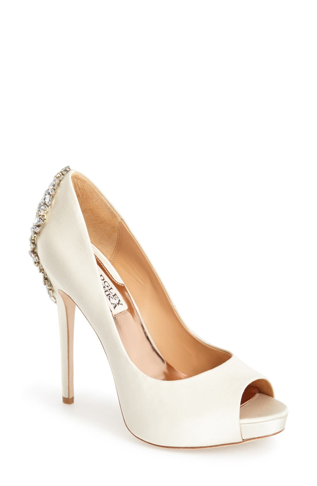 BADGLEY MISCHKA COLLECTION, Badgley Mischka 'Kiara' Crystal Back Open Toe Pump, Main thumbnail 1, color, IVORY SATN