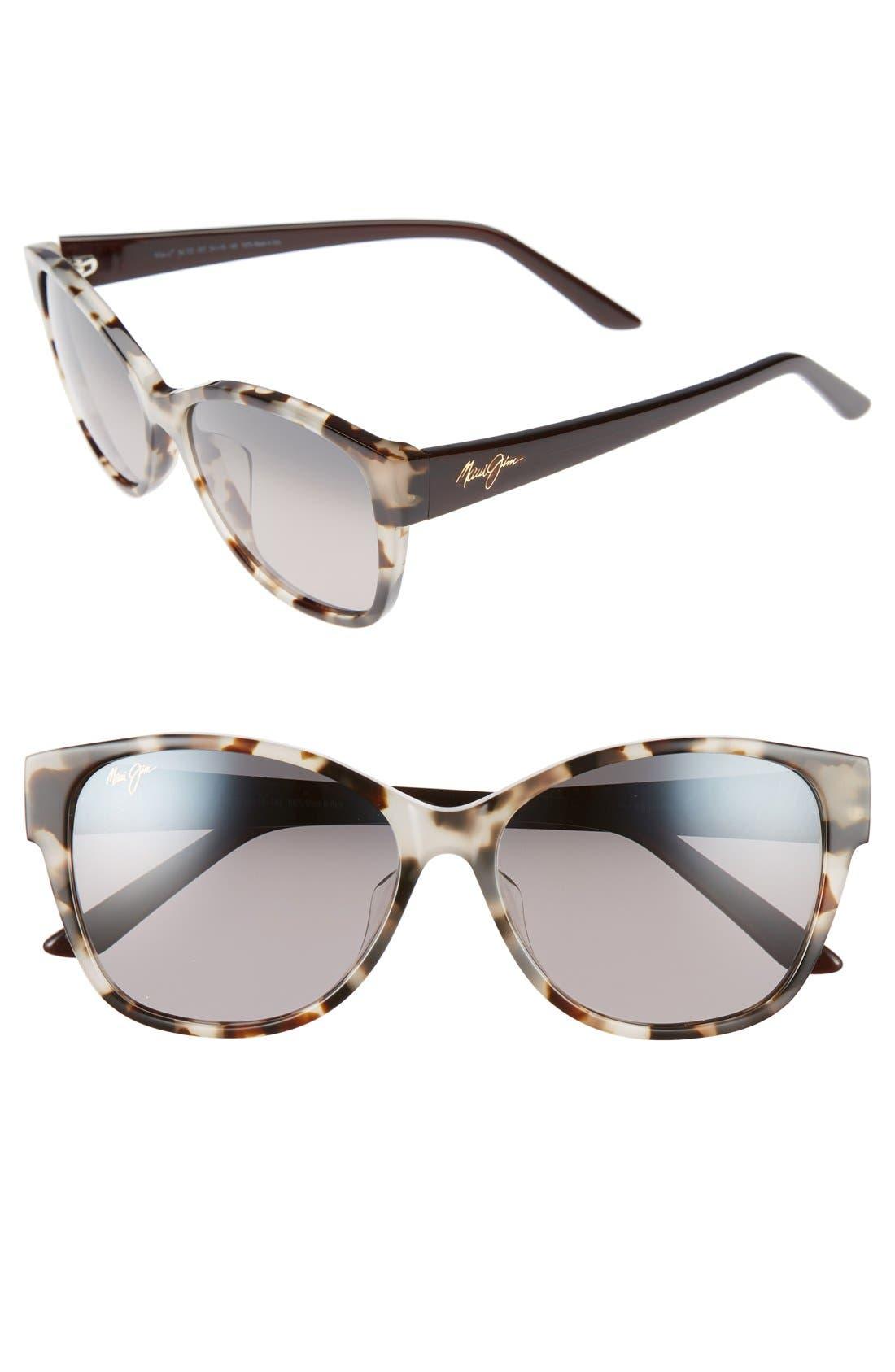 MAUI JIM Summer Time 54mm PolarizedPlus2<sup>®</sup> Cat Eye Sunglasses, Main, color, WHITE TOKYO TORTOISE/ GREY
