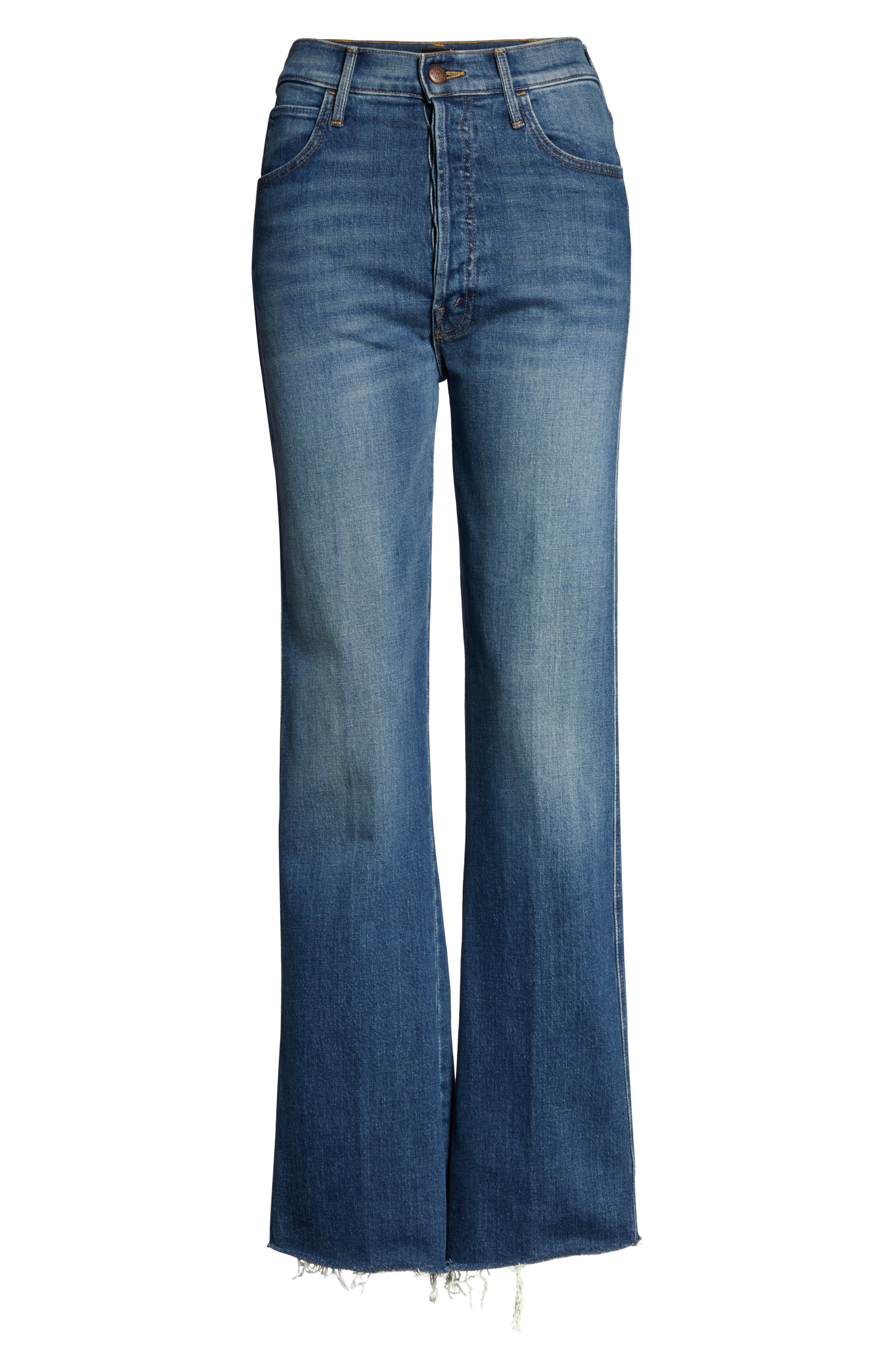 MOTHER, The Tripper Super High Waist Frayed Bootcut Jeans, Alternate thumbnail 6, color, JUST ONE SIP