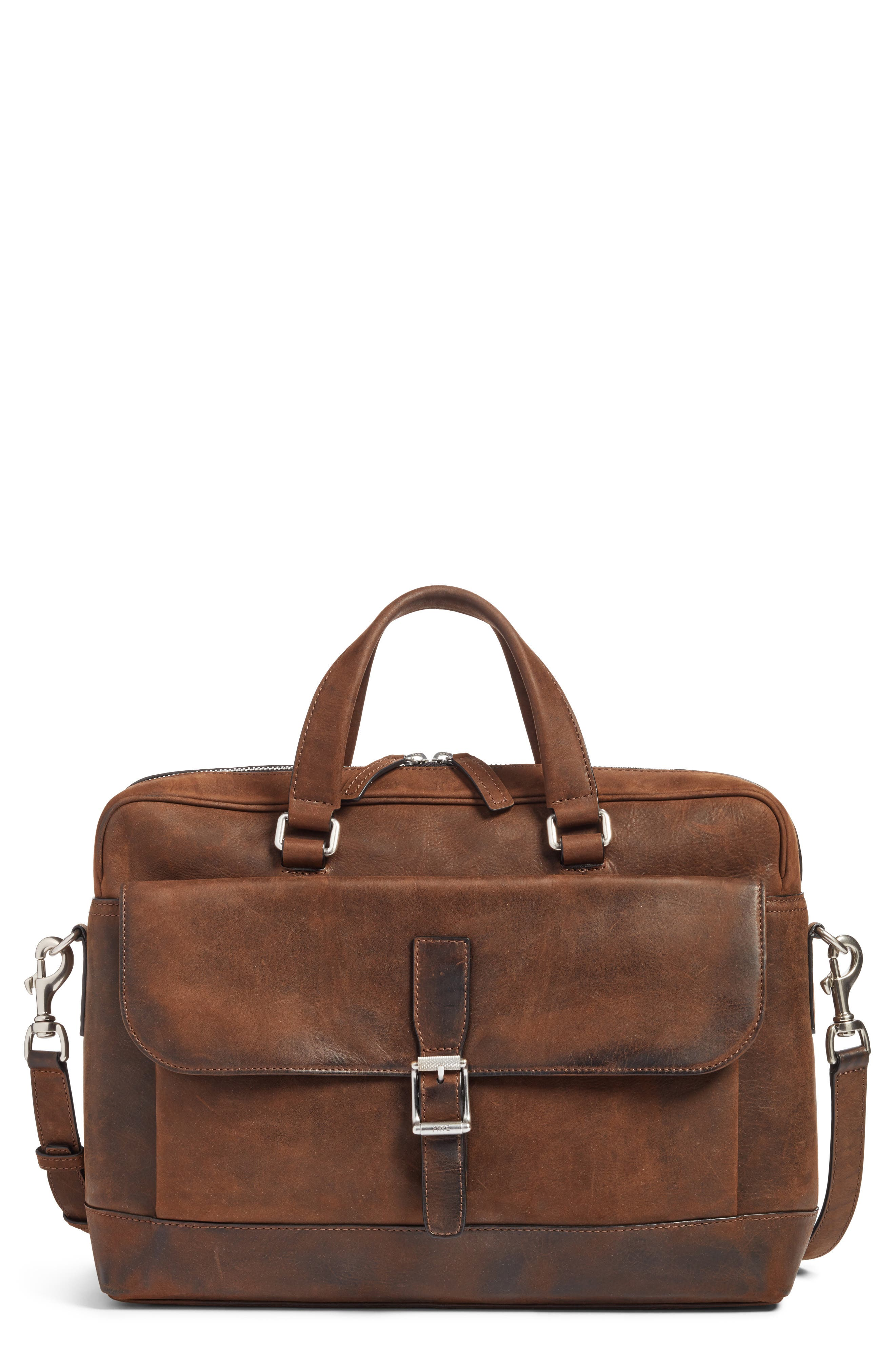FRYE, Oliver Leather Briefcase, Main thumbnail 1, color, DARK BROWN