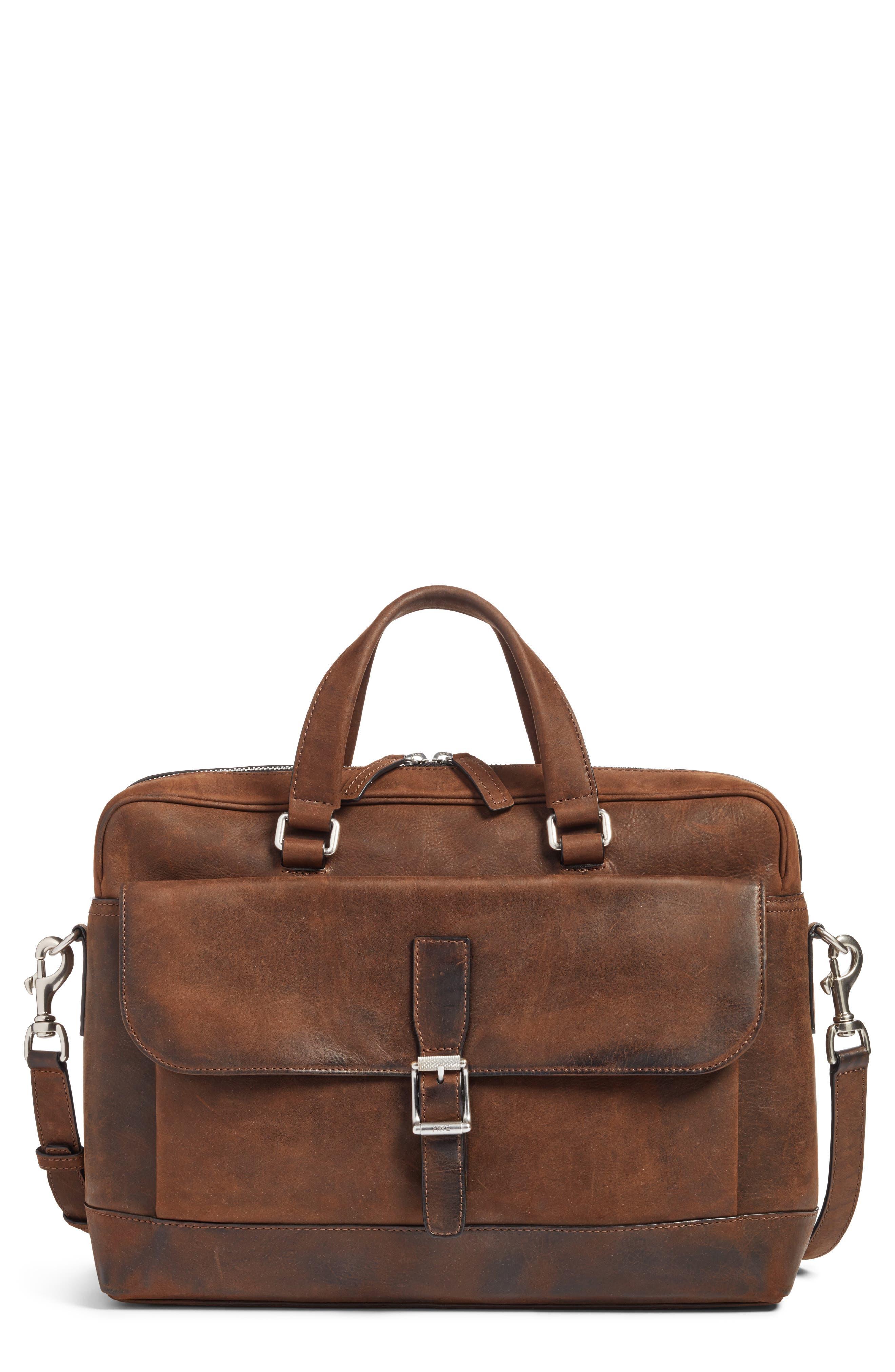 FRYE Oliver Leather Briefcase, Main, color, DARK BROWN