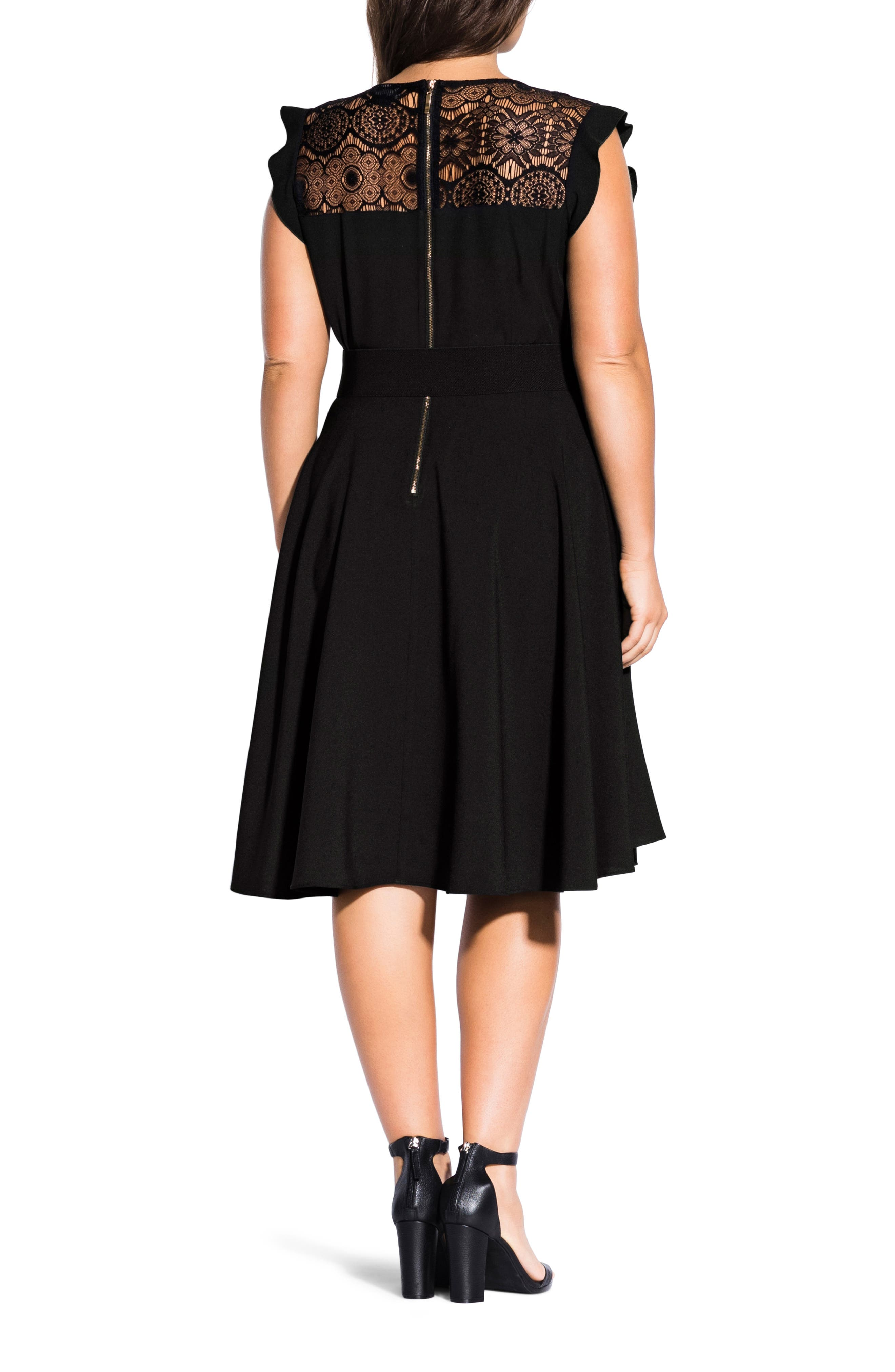 CITY CHIC, Lace Yoke Fit & Flare Dress, Alternate thumbnail 2, color, BLACK