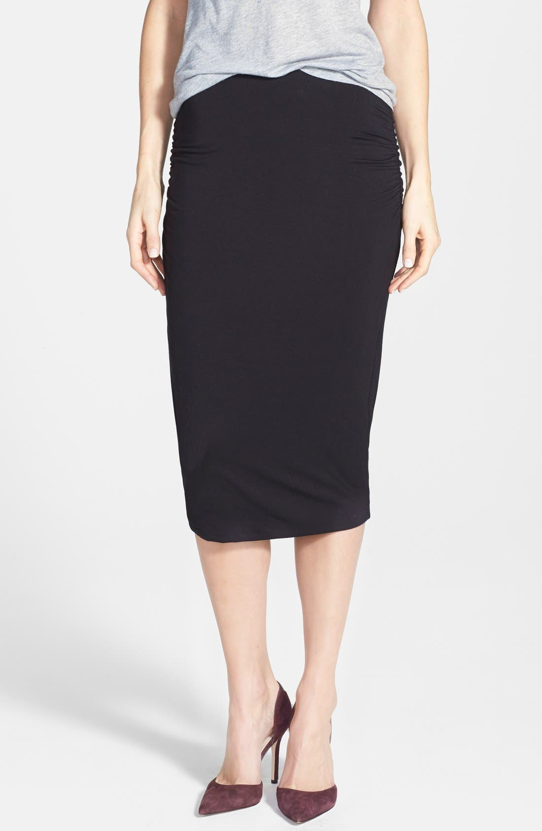 CASLON<SUP>®</SUP>, Side Ruched Stretch Knit Midi Skirt, Main thumbnail 1, color, 001