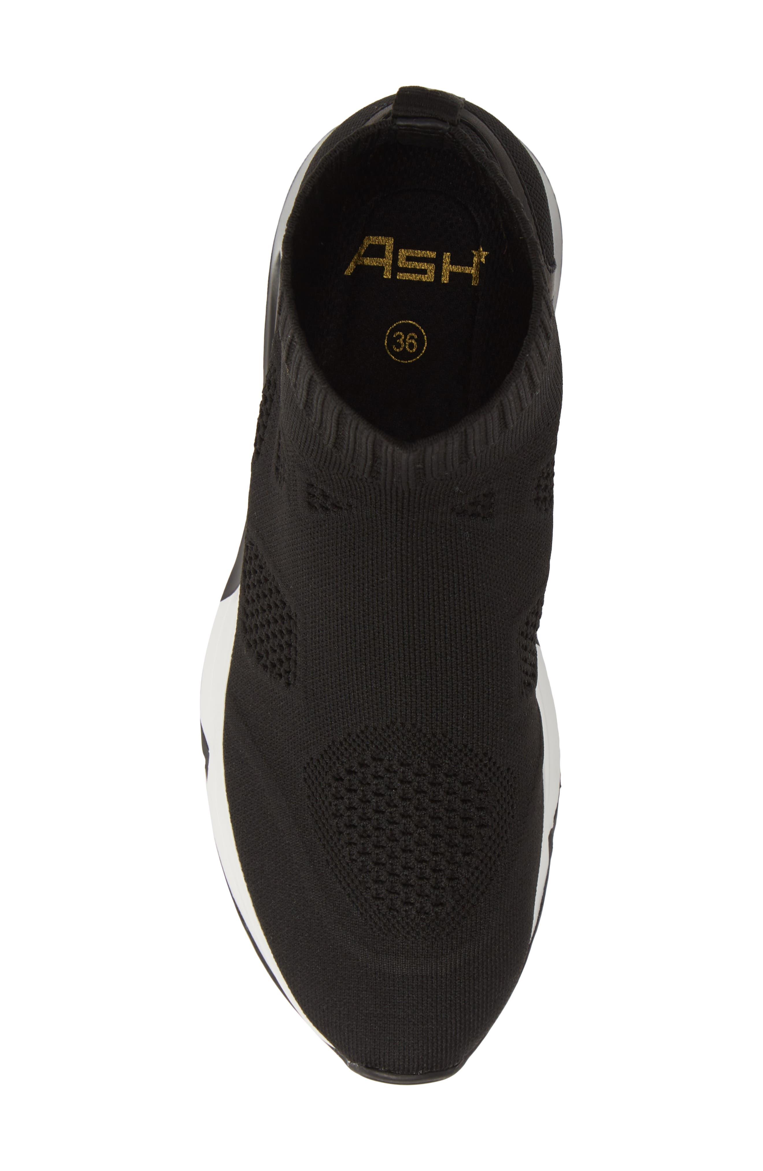 ASH, Knit Sneaker Bootie, Alternate thumbnail 5, color, BLACK