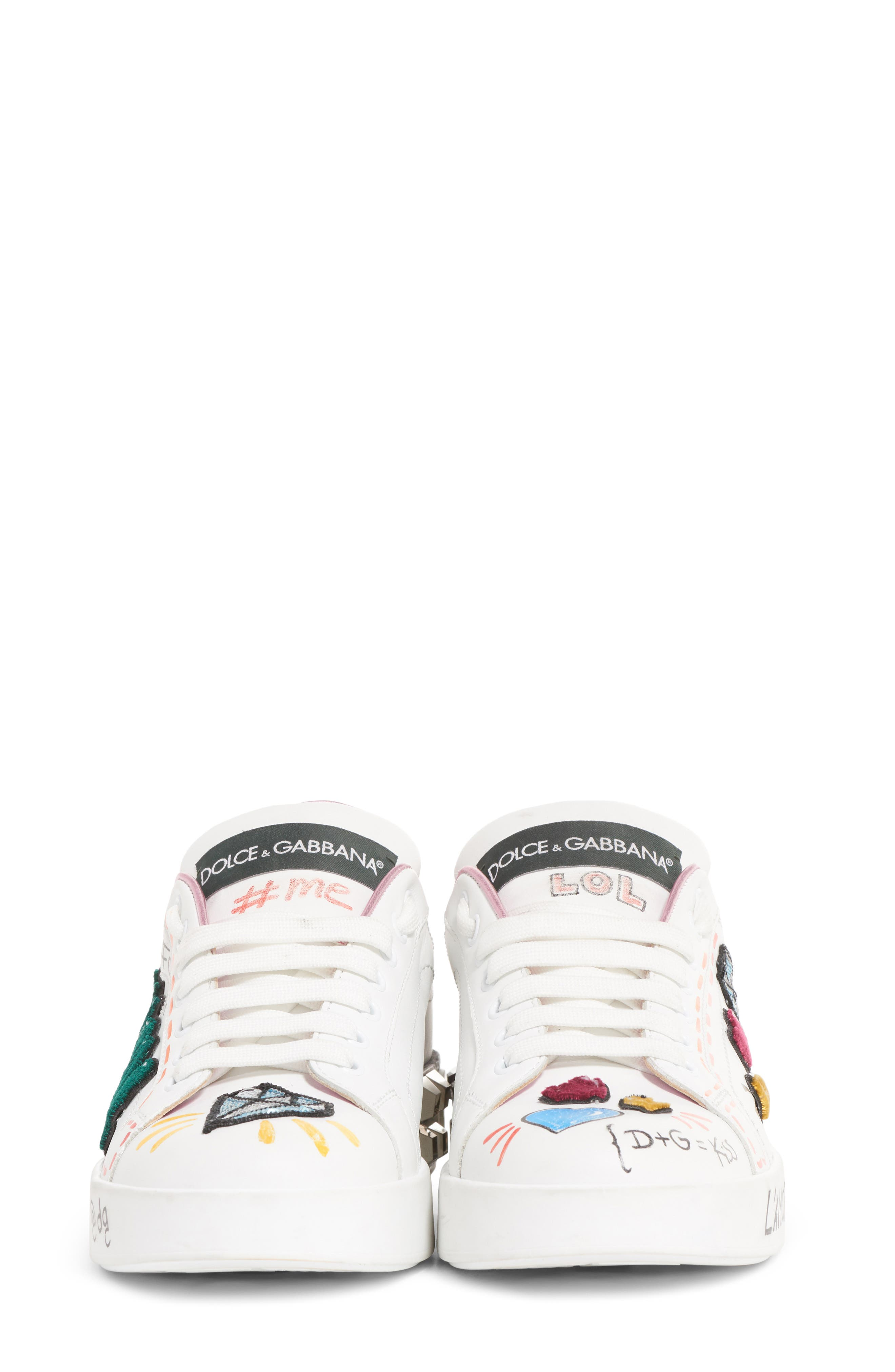 DOLCE&GABBANA, Queen Graffiti Lace-Up Sneaker, Alternate thumbnail 7, color, 110