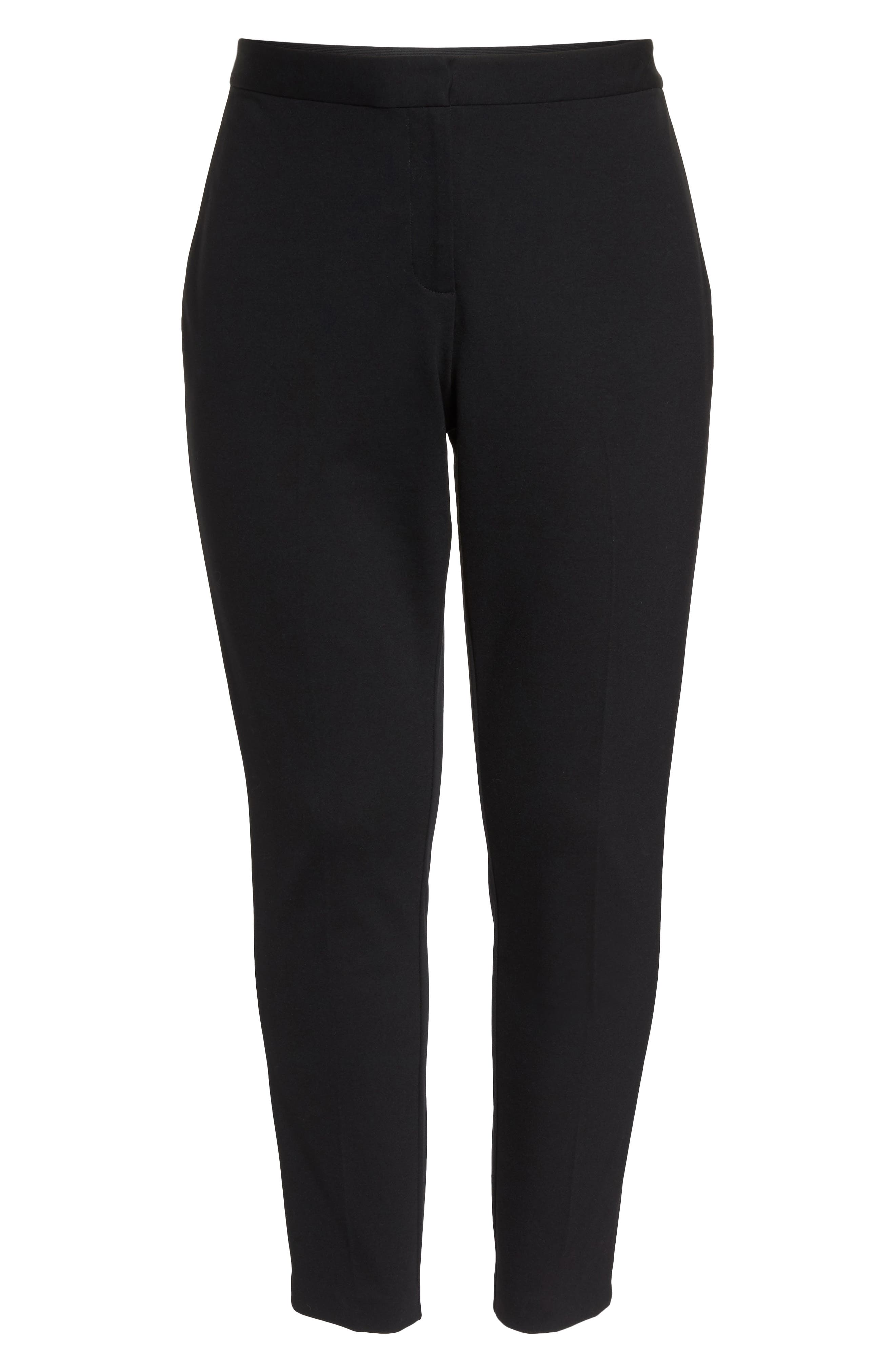 VINCE CAMUTO, High Rise Ankle Skinny Ponte Pants, Alternate thumbnail 7, color, RICH BLACK
