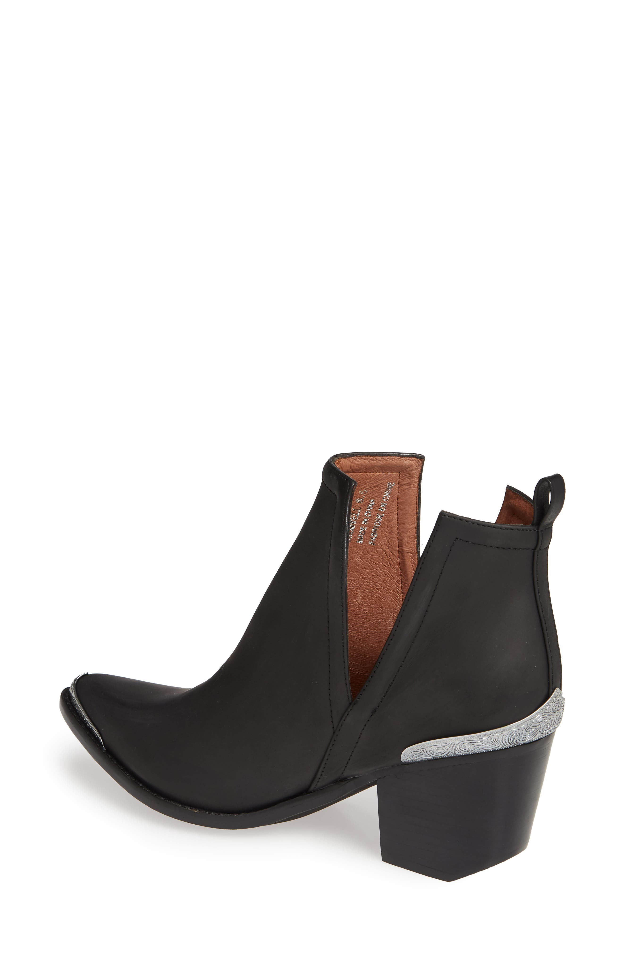 JEFFREY CAMPBELL, Cromwell Cutout Western Boot, Alternate thumbnail 3, color, BLACK DISTRESSED
