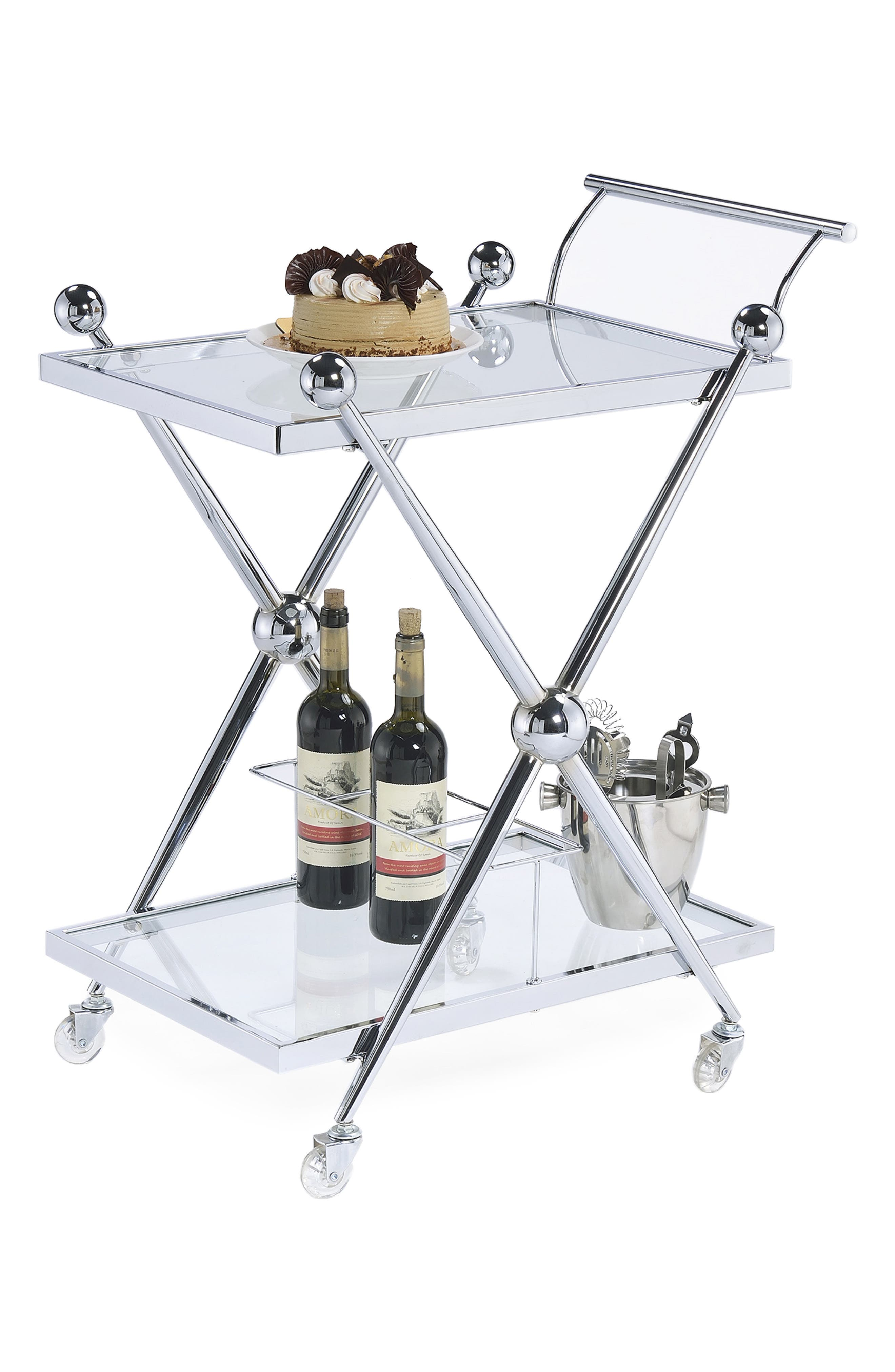 AMERICAN ATELIER, Rolling Bar Cart, Main thumbnail 1, color, SILVER