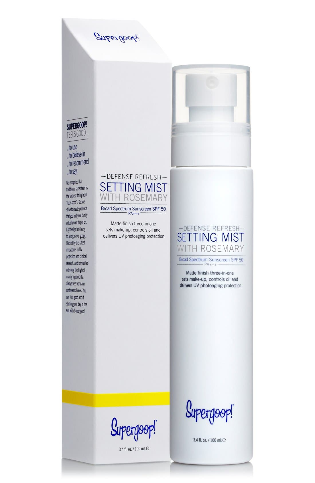 SUPERGOOP!<SUP>®</SUP>, Supergoop! Defense Refresh Setting Mist with Rosemary SPF 50, Alternate thumbnail 3, color, 000