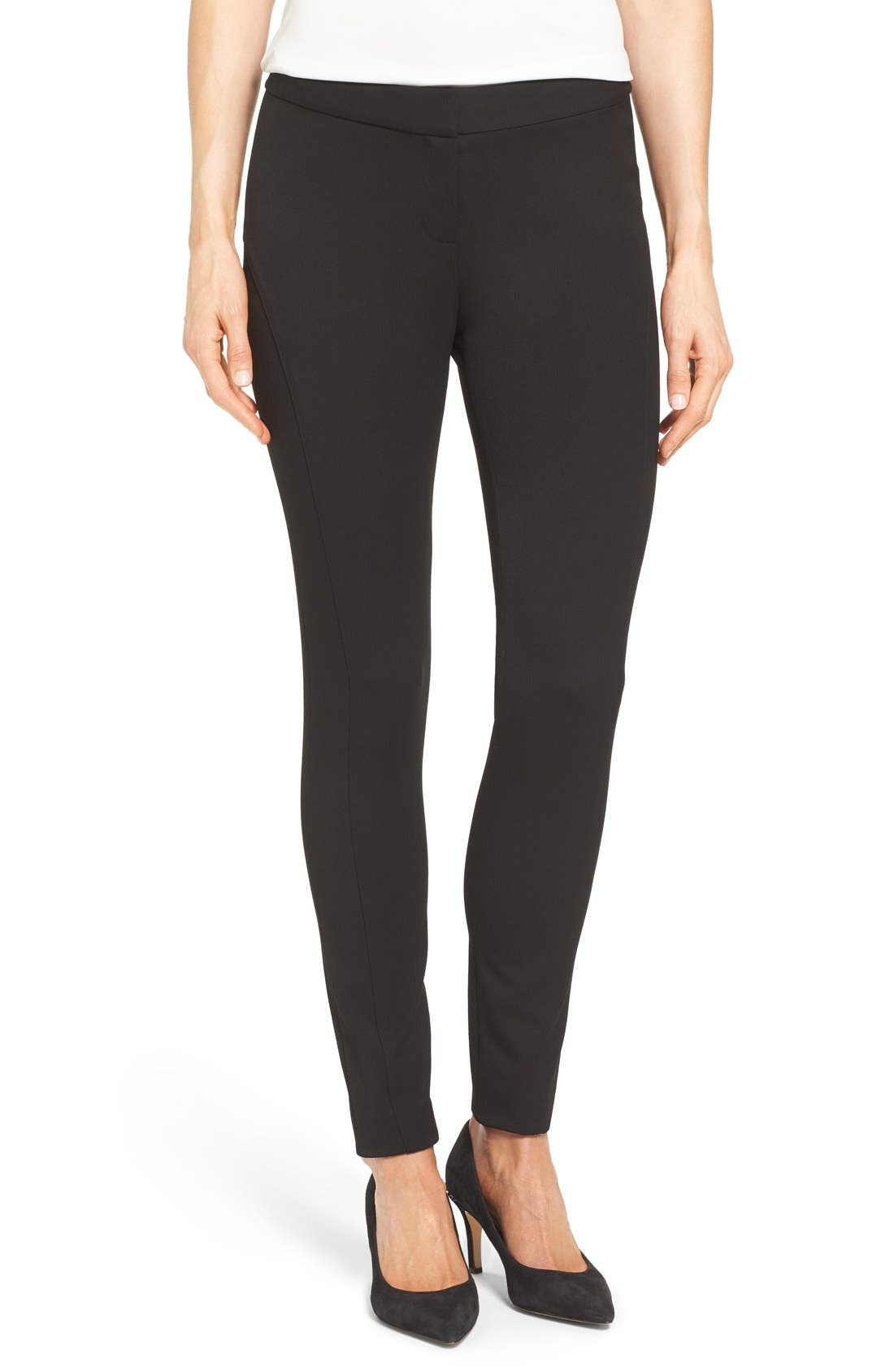 VINCE CAMUTO, Stretch Twill Skinny Pants, Main thumbnail 1, color, RICH BLACK