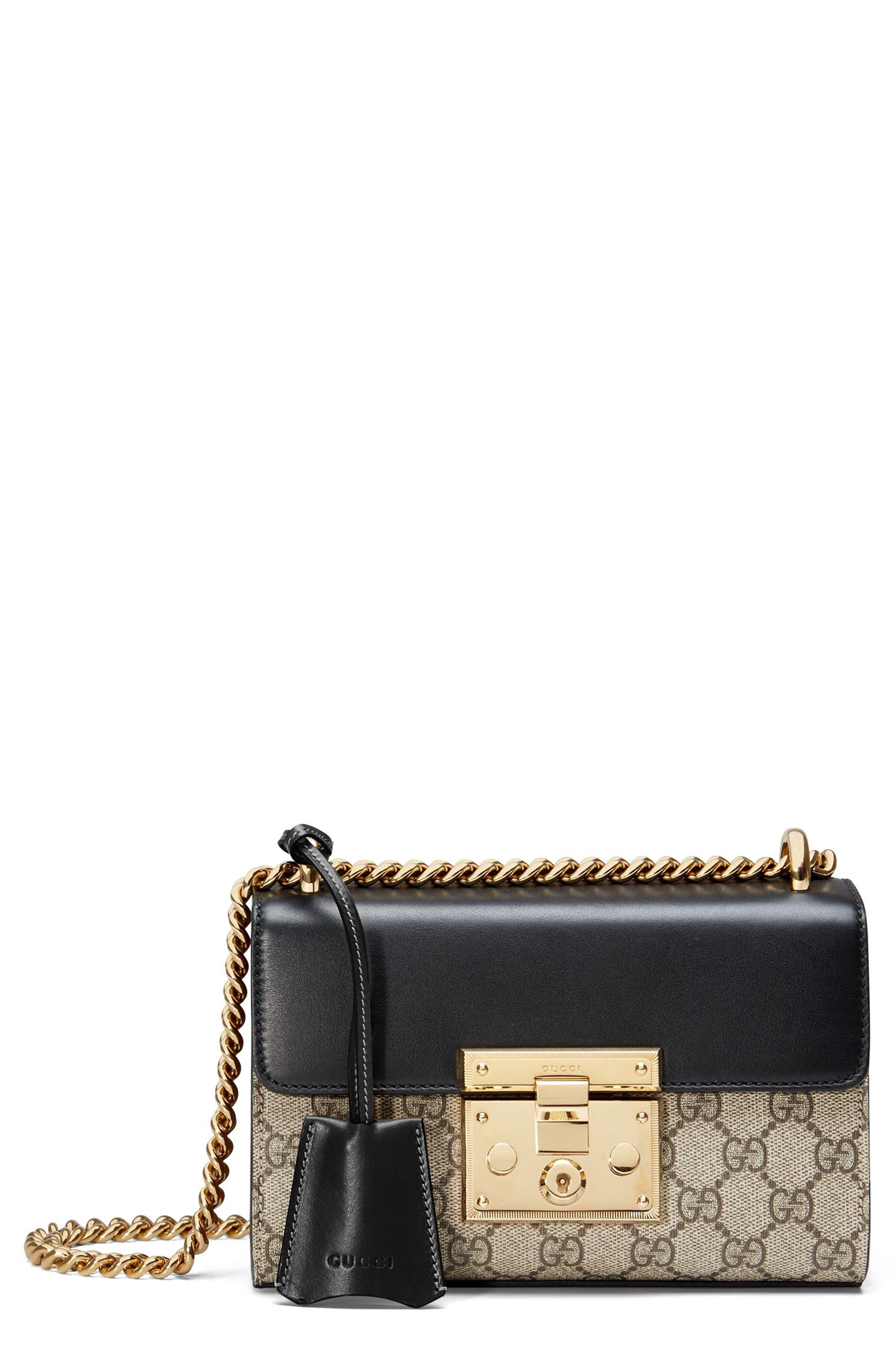 GUCCI, Small Padlock GG Supreme Canvas & Leather Shoulder Bag, Main thumbnail 1, color, MOON/TOSCANO