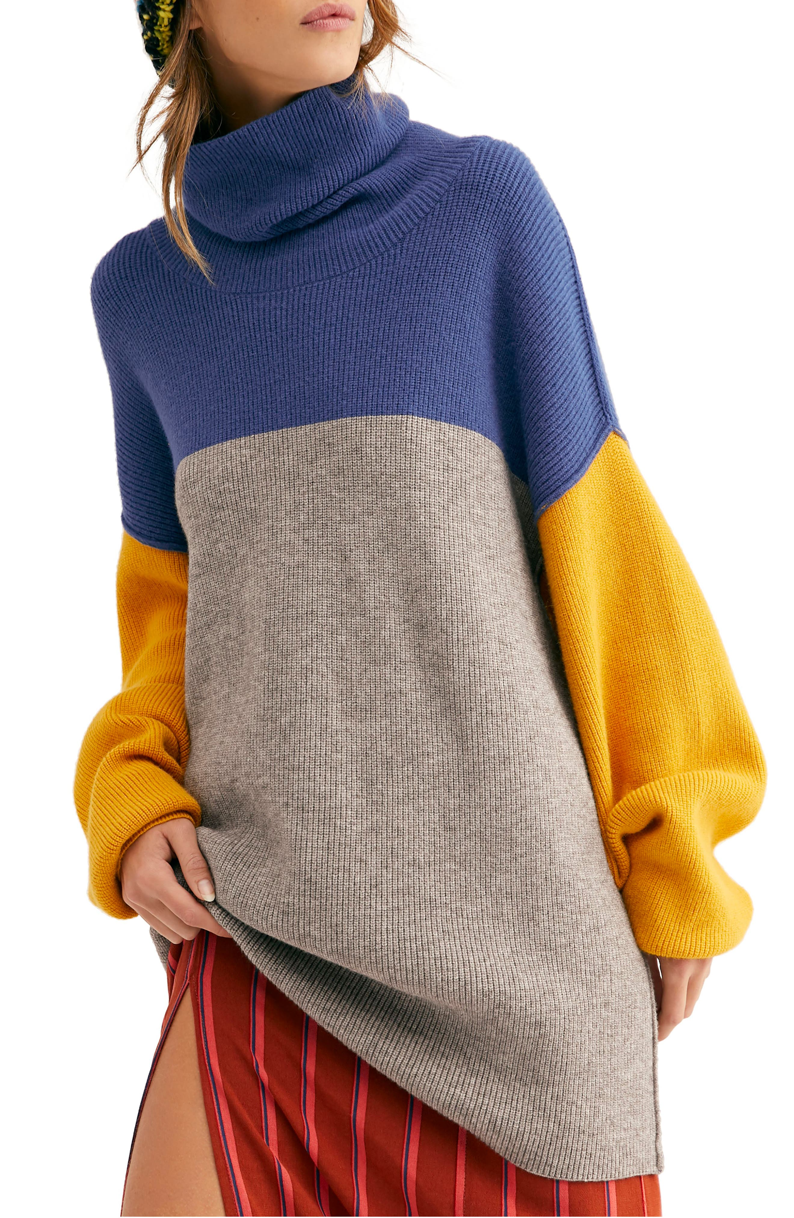 FREE PEOPLE, Colorblock Turtleneck Sweater, Main thumbnail 1, color, 400