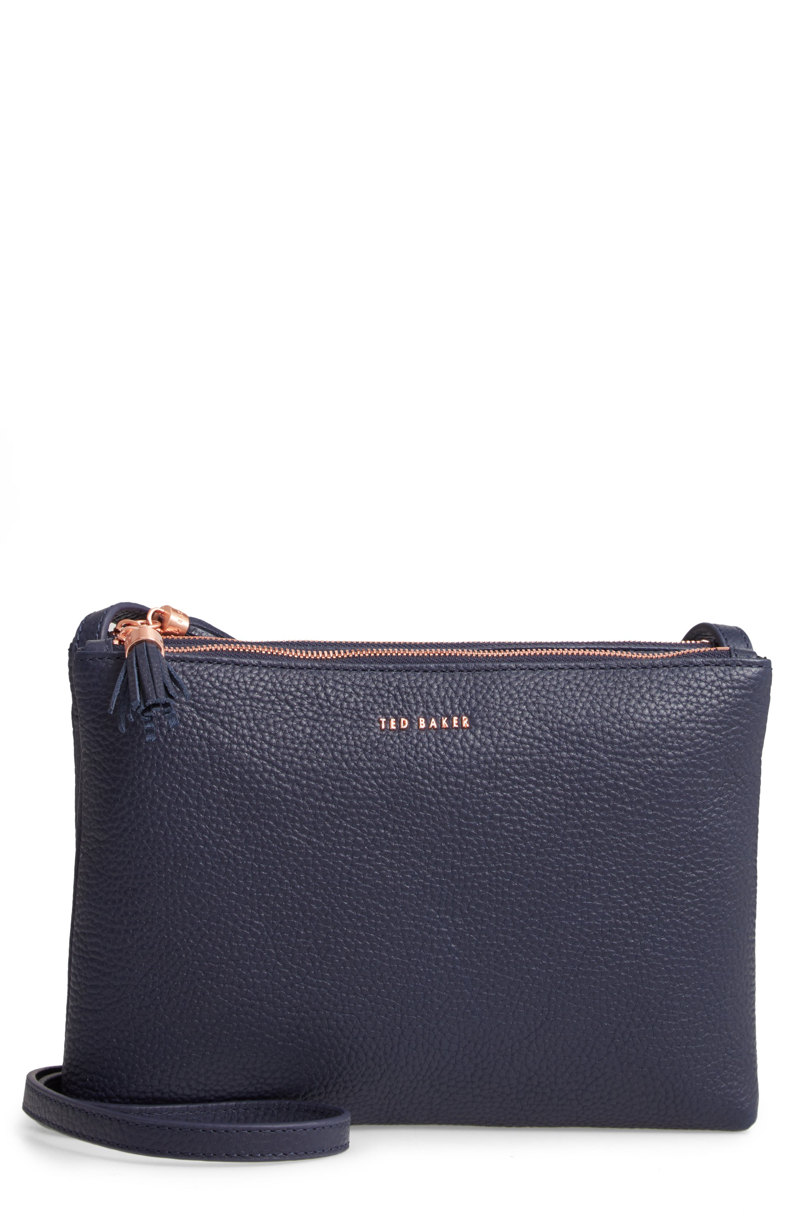 TED BAKER LONDON, Maceyy Double Zip Leather Crossbody Bag, Main thumbnail 1, color, NAVY