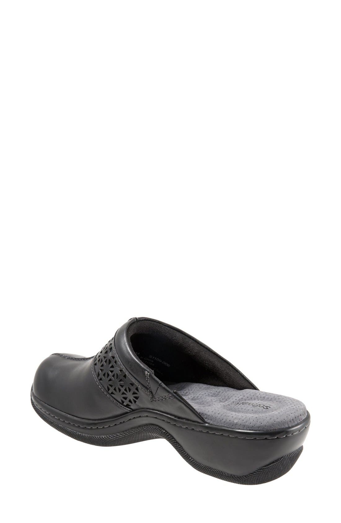 SOFTWALK<SUP>®</SUP>, 'Abby' Clog, Alternate thumbnail 2, color, BLACK LEATHER