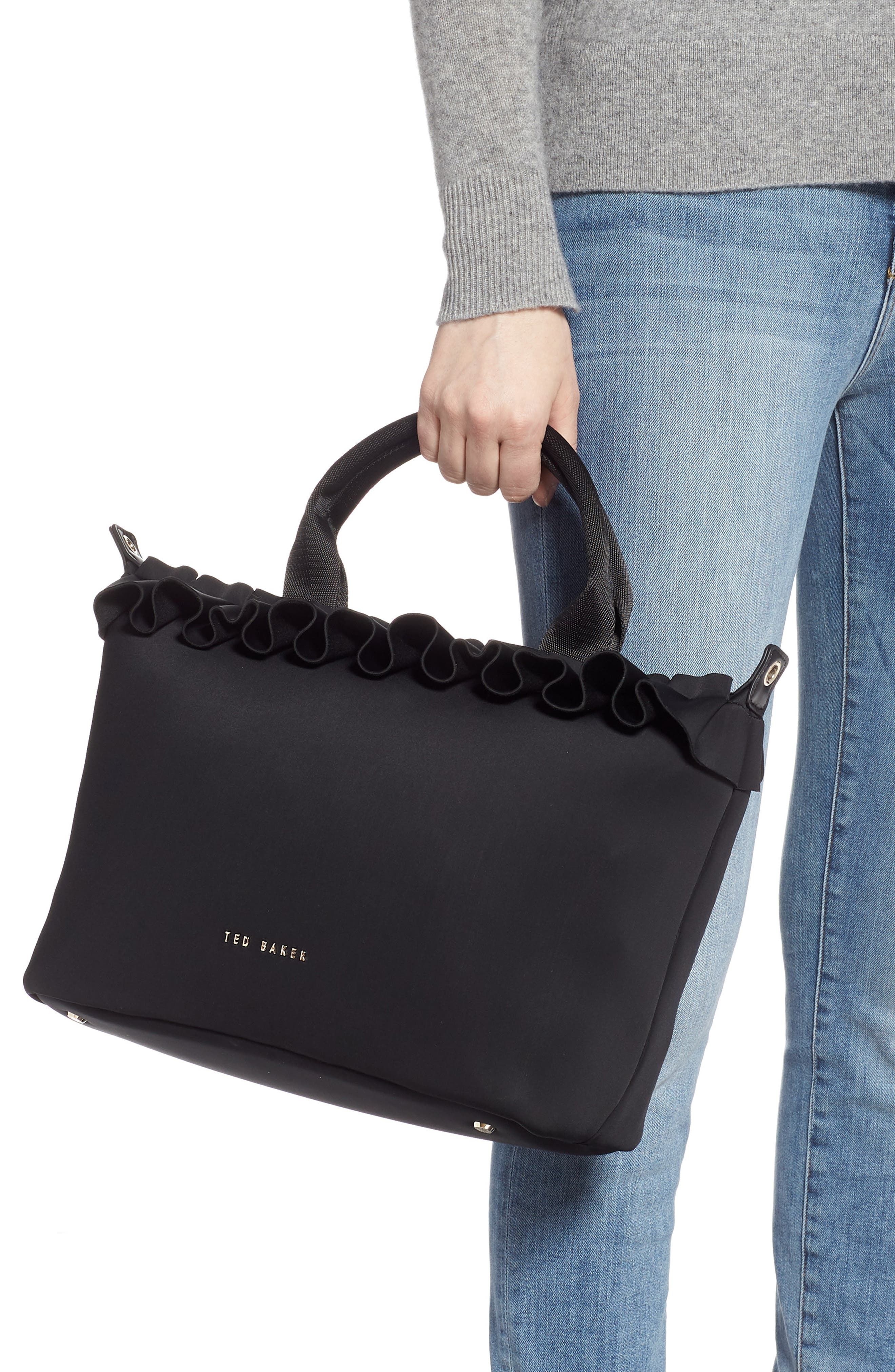 TED BAKER LONDON, Ryllee Ruffle Tote, Alternate thumbnail 2, color, 001