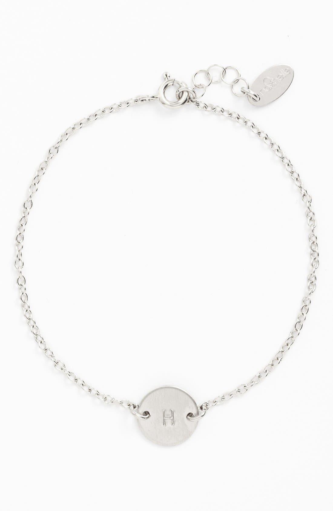 NASHELLE, Sterling Silver Mini Initial Disc Bracelet, Main thumbnail 1, color, STERLING SILVER H