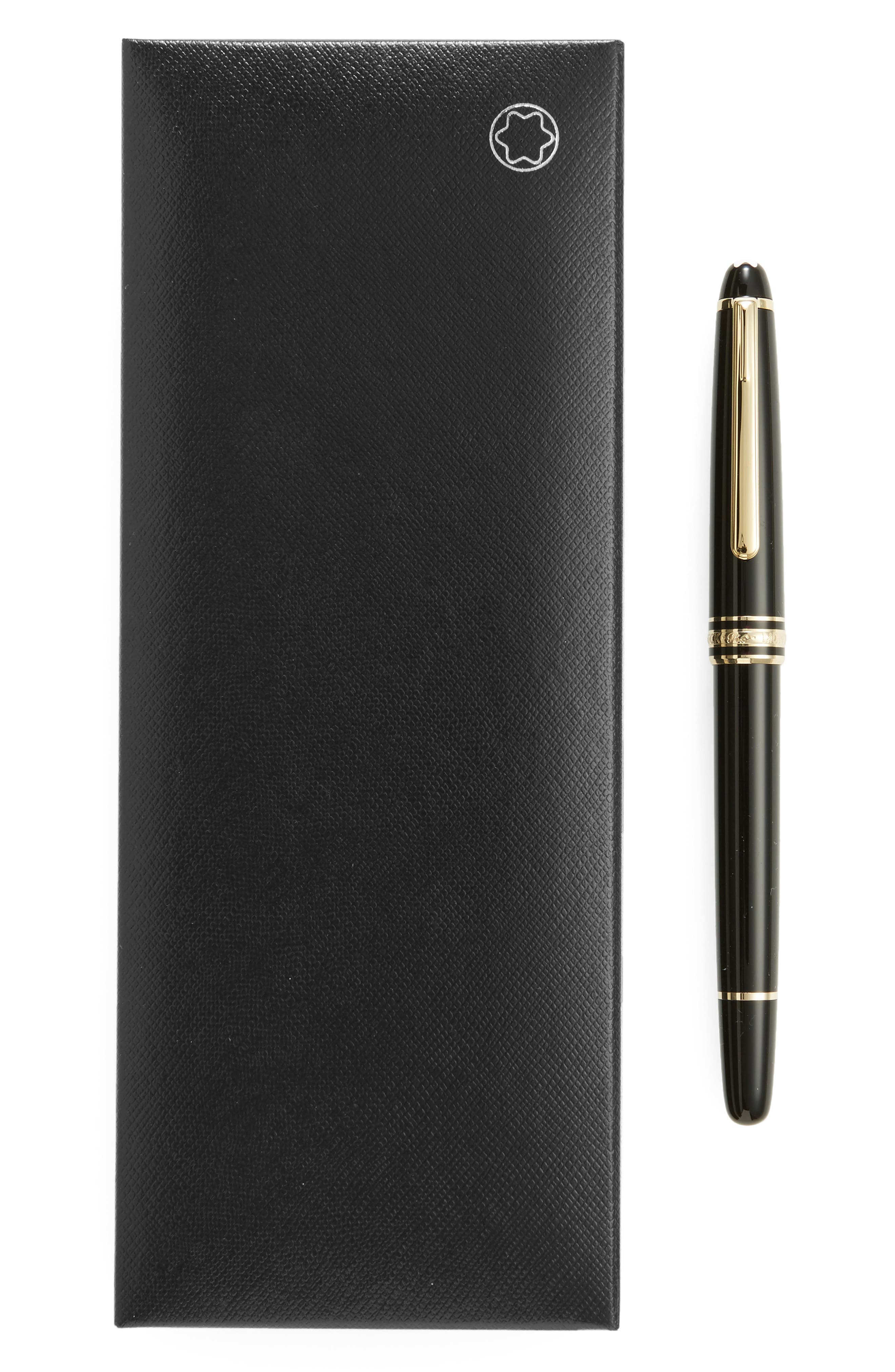 MONTBLANC, Gold Coated Classique Rollerball Pen, Alternate thumbnail 2, color, BLACK