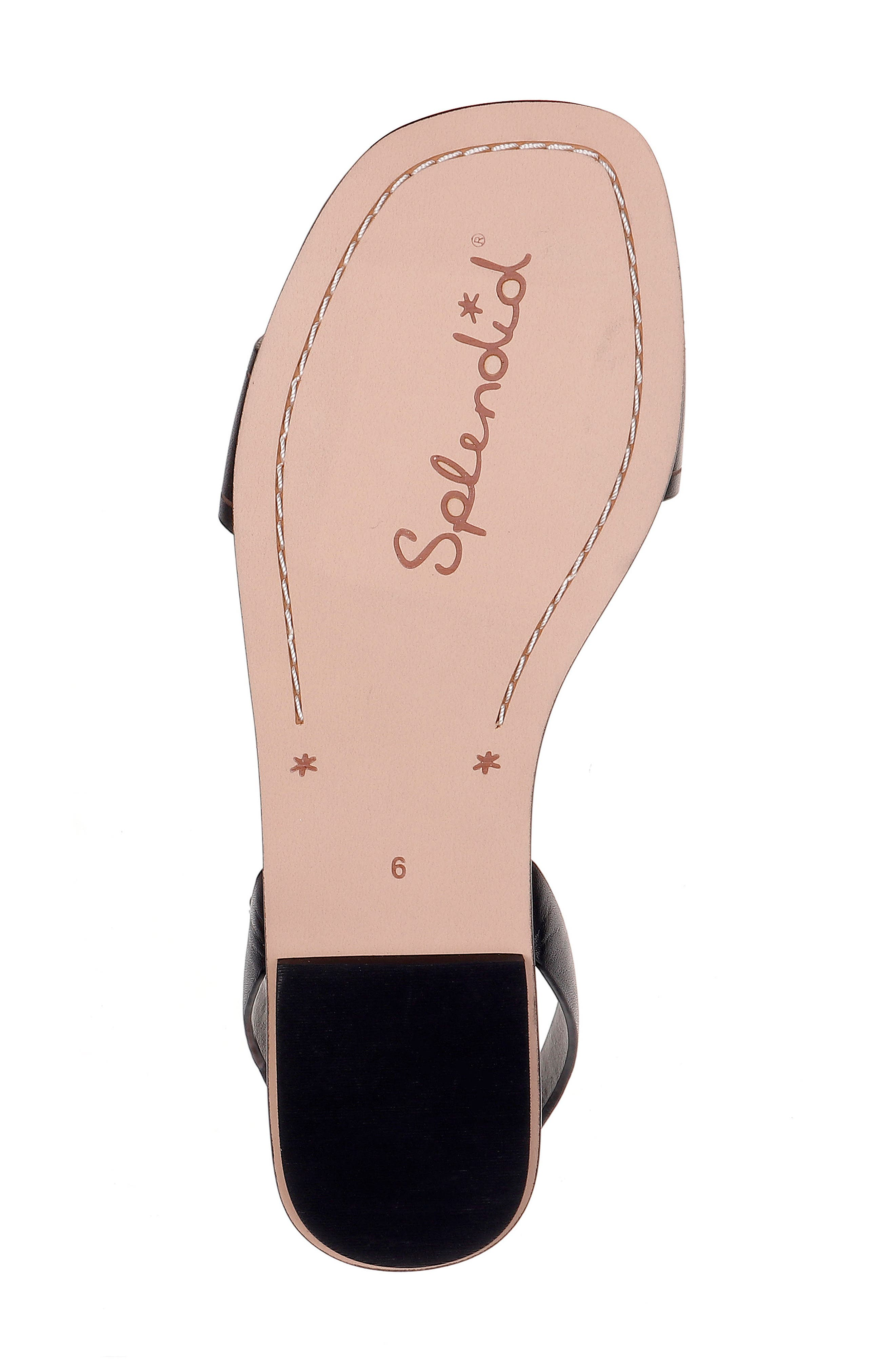 SPLENDID, Tabitha Ankle Strap Flat Sandal, Alternate thumbnail 6, color, BLACK LEATHER