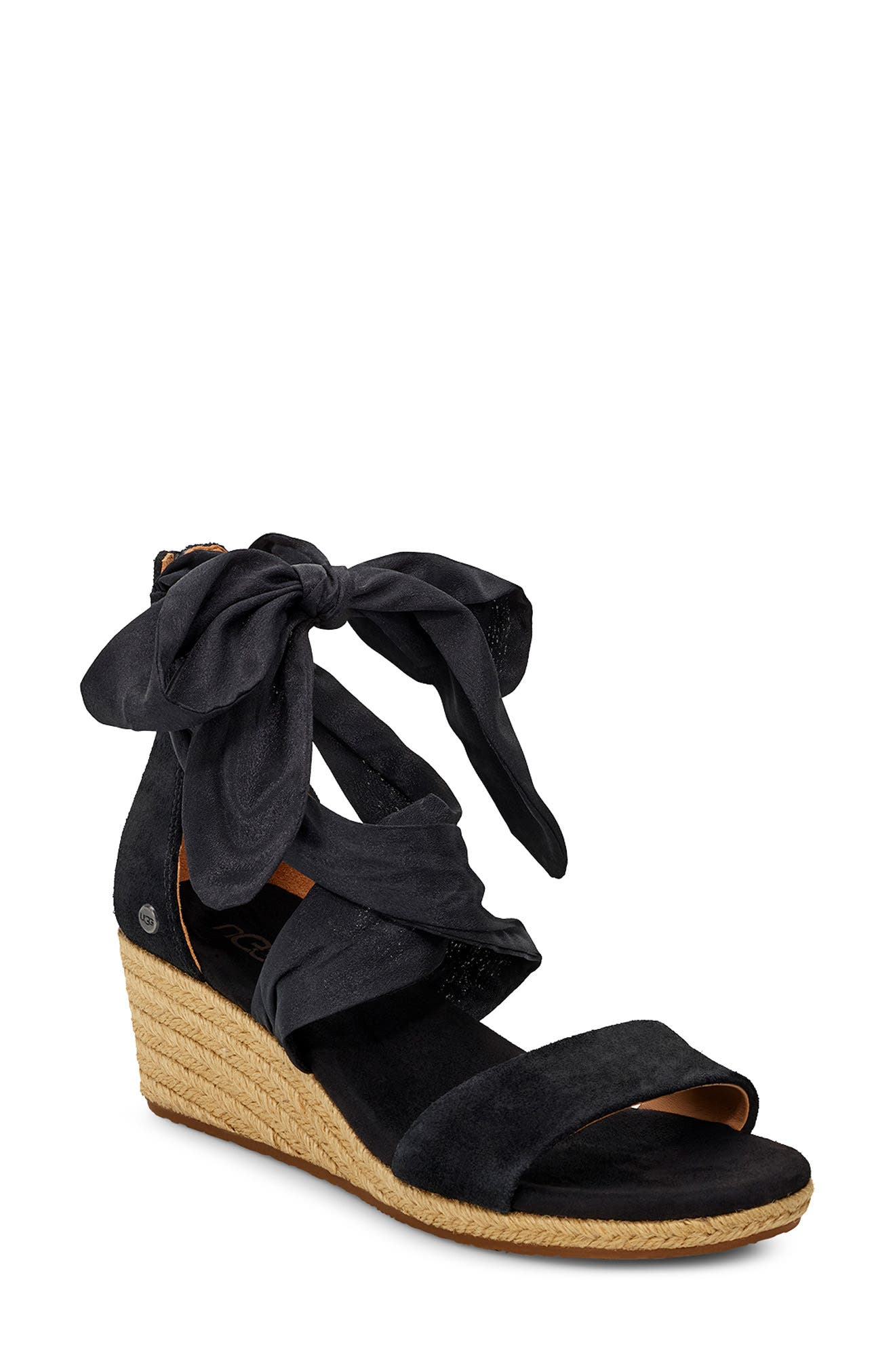 UGG<SUP>®</SUP>, Trina Ankle Tie Wedge Sandal, Main thumbnail 1, color, BLACK LEATHER