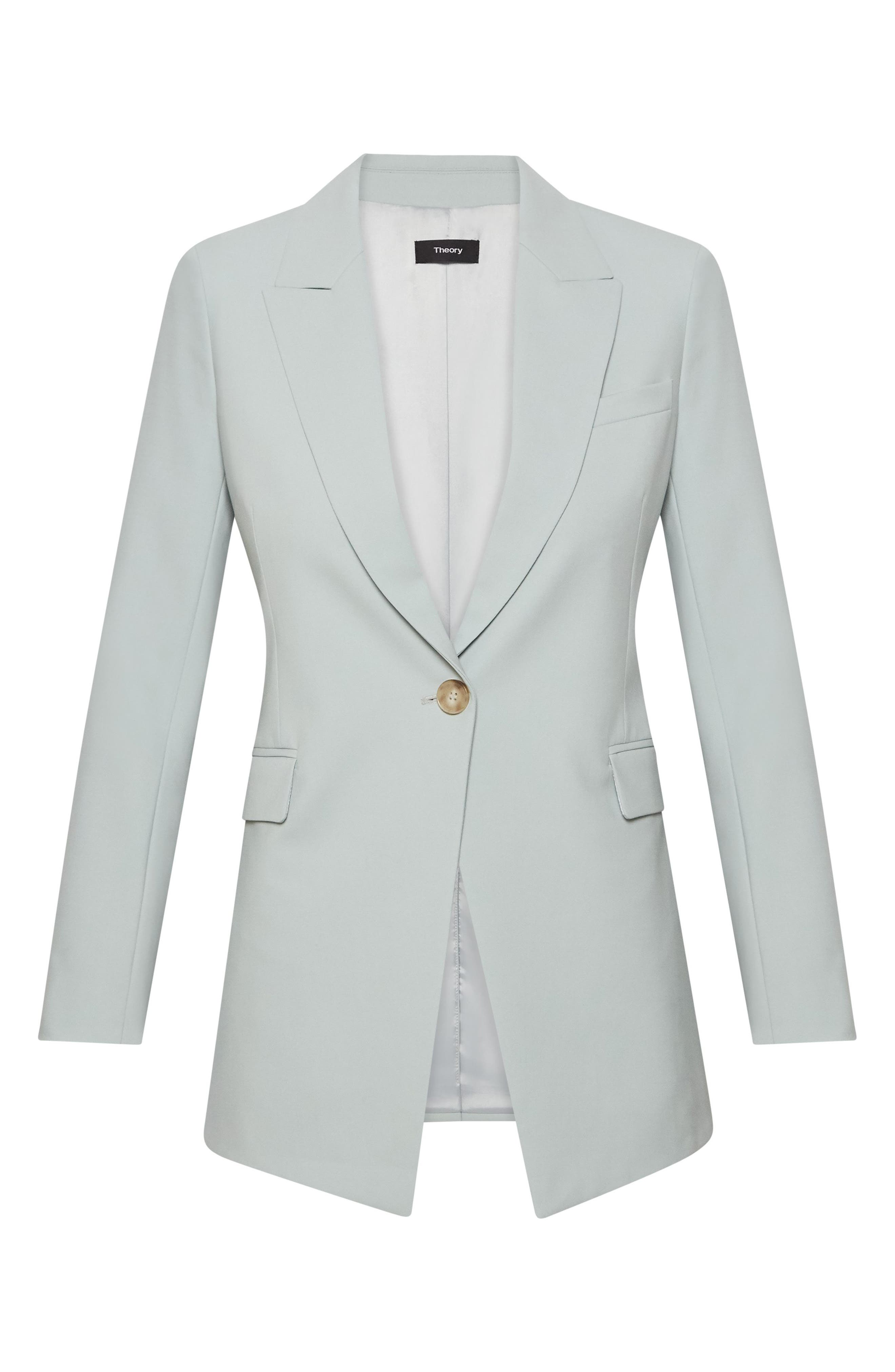 THEORY, Etienette B Good Wool Suit Jacket, Alternate thumbnail 4, color, OPAL GREEN