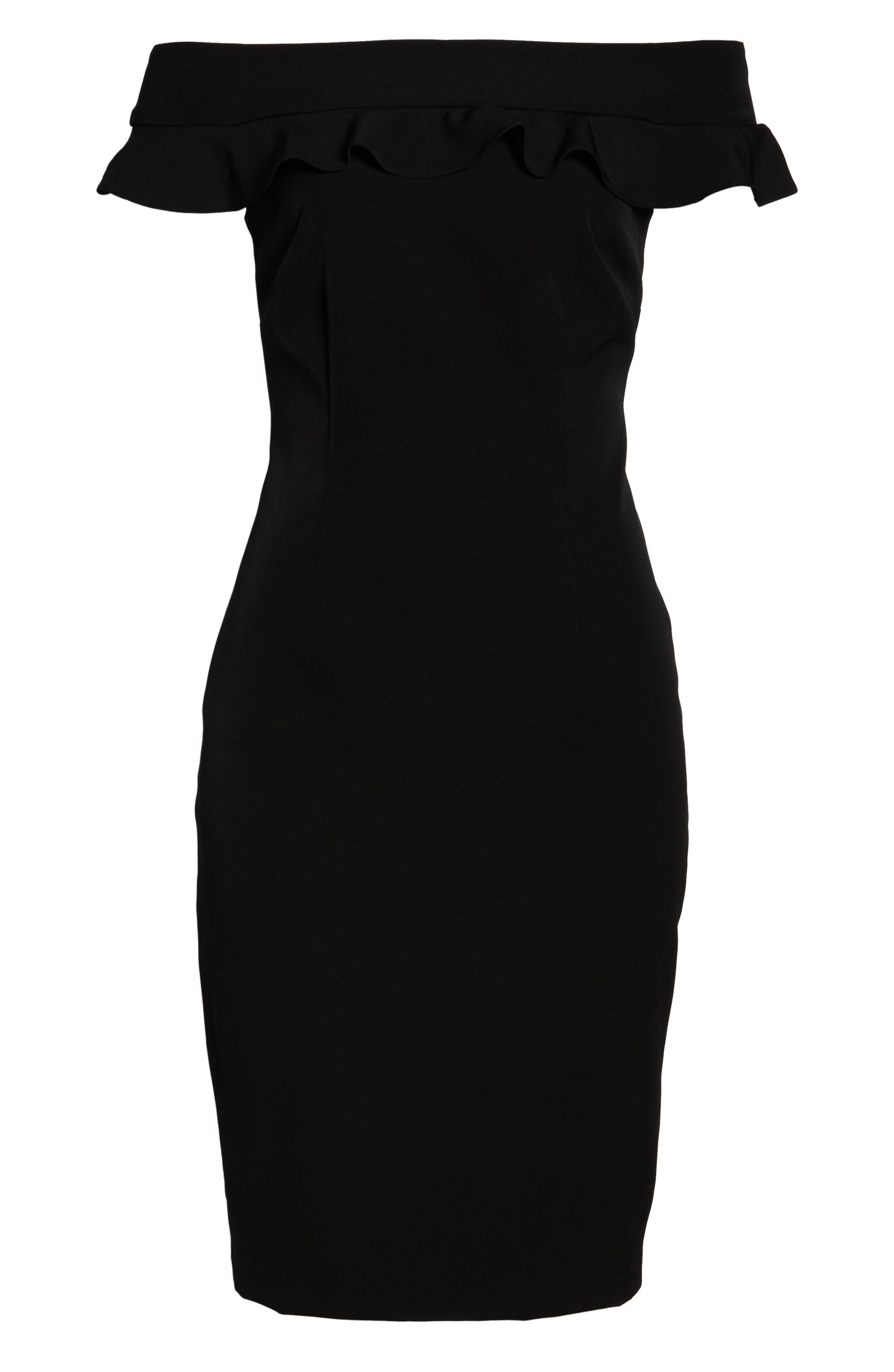 ELIZA J, Ruffle Off the Shoulder Dress, Alternate thumbnail 7, color, 001