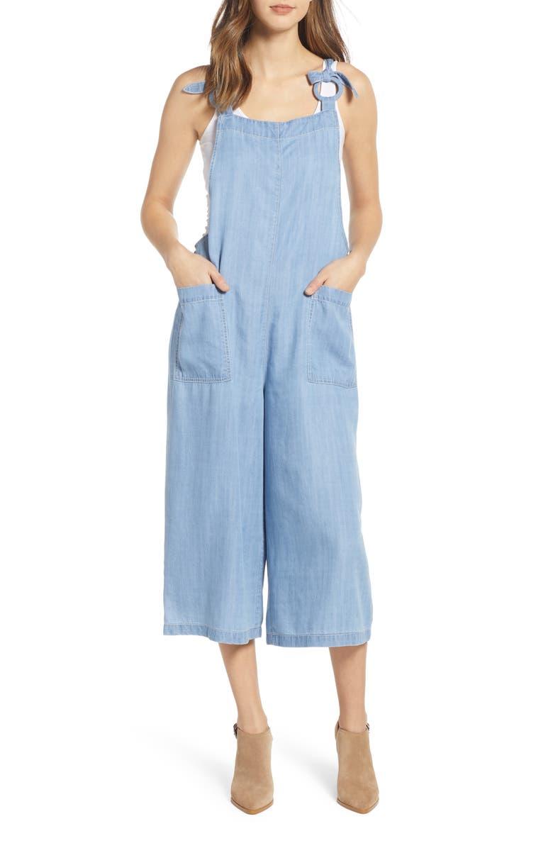 Moon River Suits CHAMBRAY WIDE LEG CROP JUMPSUIT