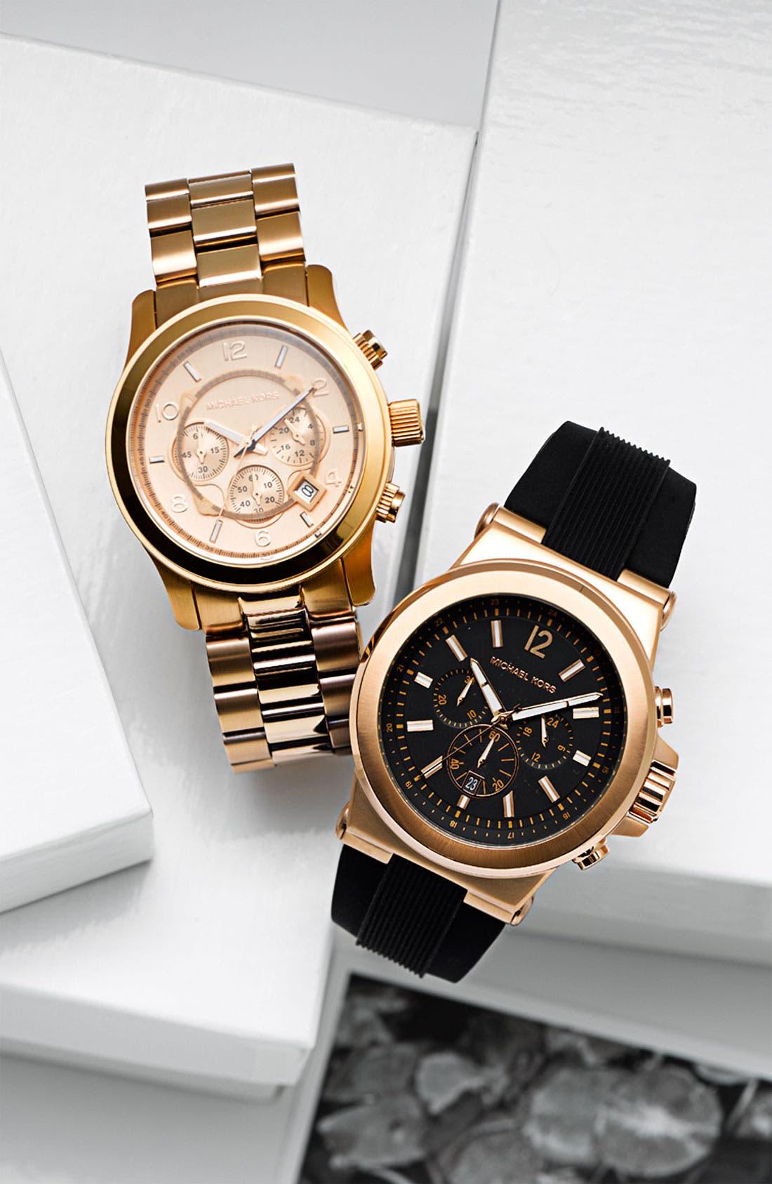 MICHAEL KORS, Chronograph Watch, 45mm, Alternate thumbnail 5, color, ROSE GOLD/ BLACK