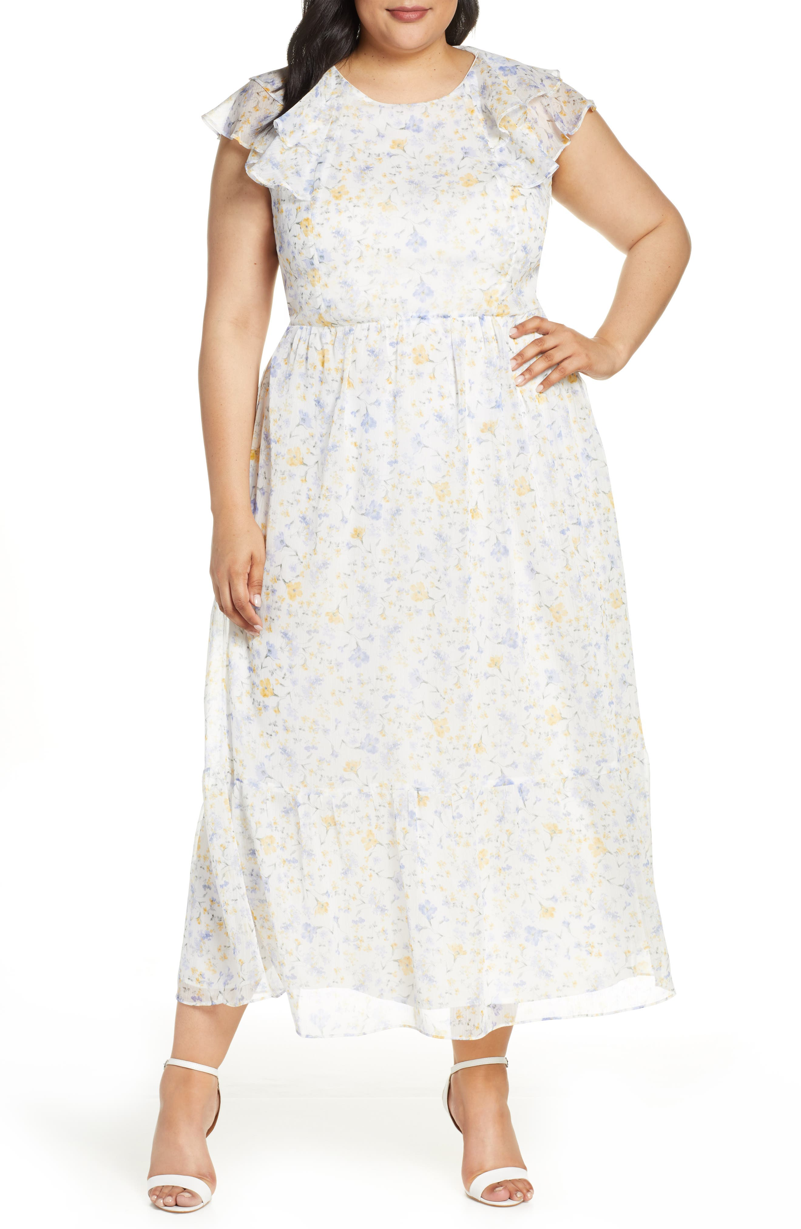 1930s Art Deco Plus Size Dresses | Tea Dresses, Party Dresses Plus Size Womens Cece Provence Floral Ruffle Hem Maxi Dress $149.00 AT vintagedancer.com