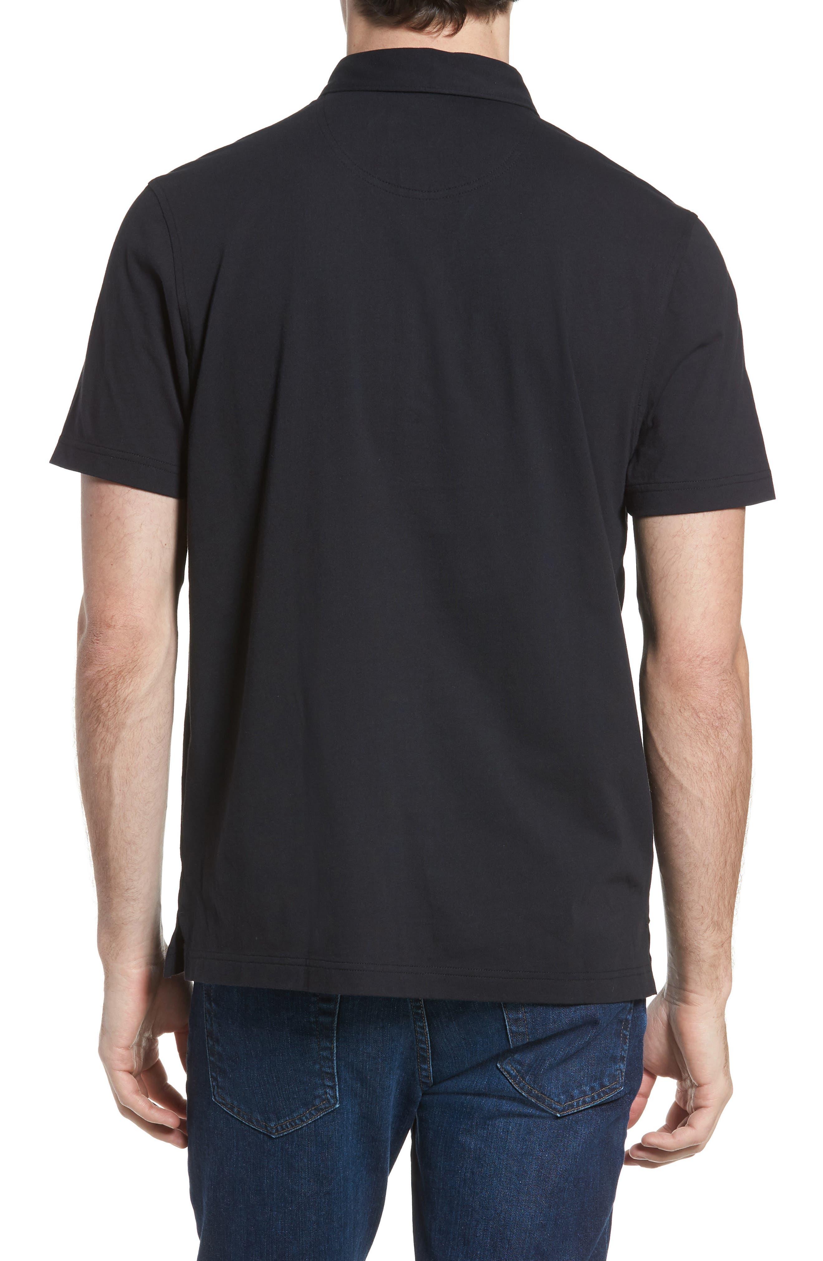 NORDSTROM MEN'S SHOP, Regular Fit Polo, Alternate thumbnail 2, color, BLACK