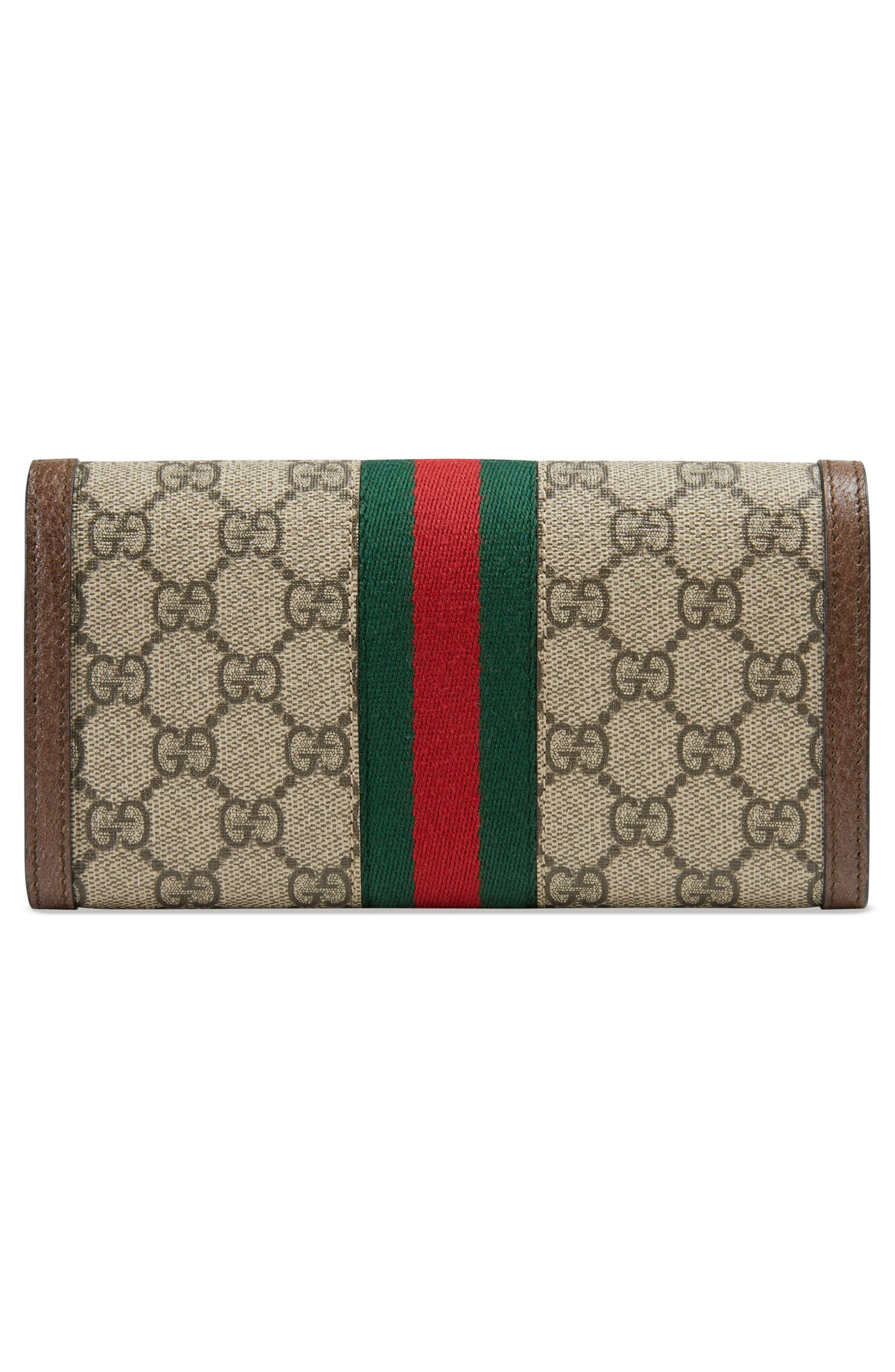 GUCCI, Ophidia GG Supreme Continental Wallet, Alternate thumbnail 3, color, BEIGE EBONY/ ACERO/ VERT RED