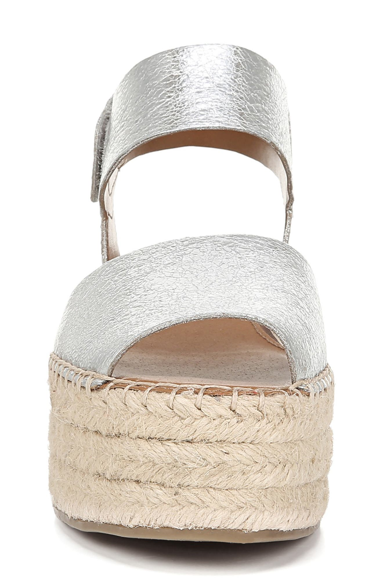 SARTO BY FRANCO SARTO, Leo Platform Espadrille Sandal, Alternate thumbnail 4, color, SILVER LEATHER