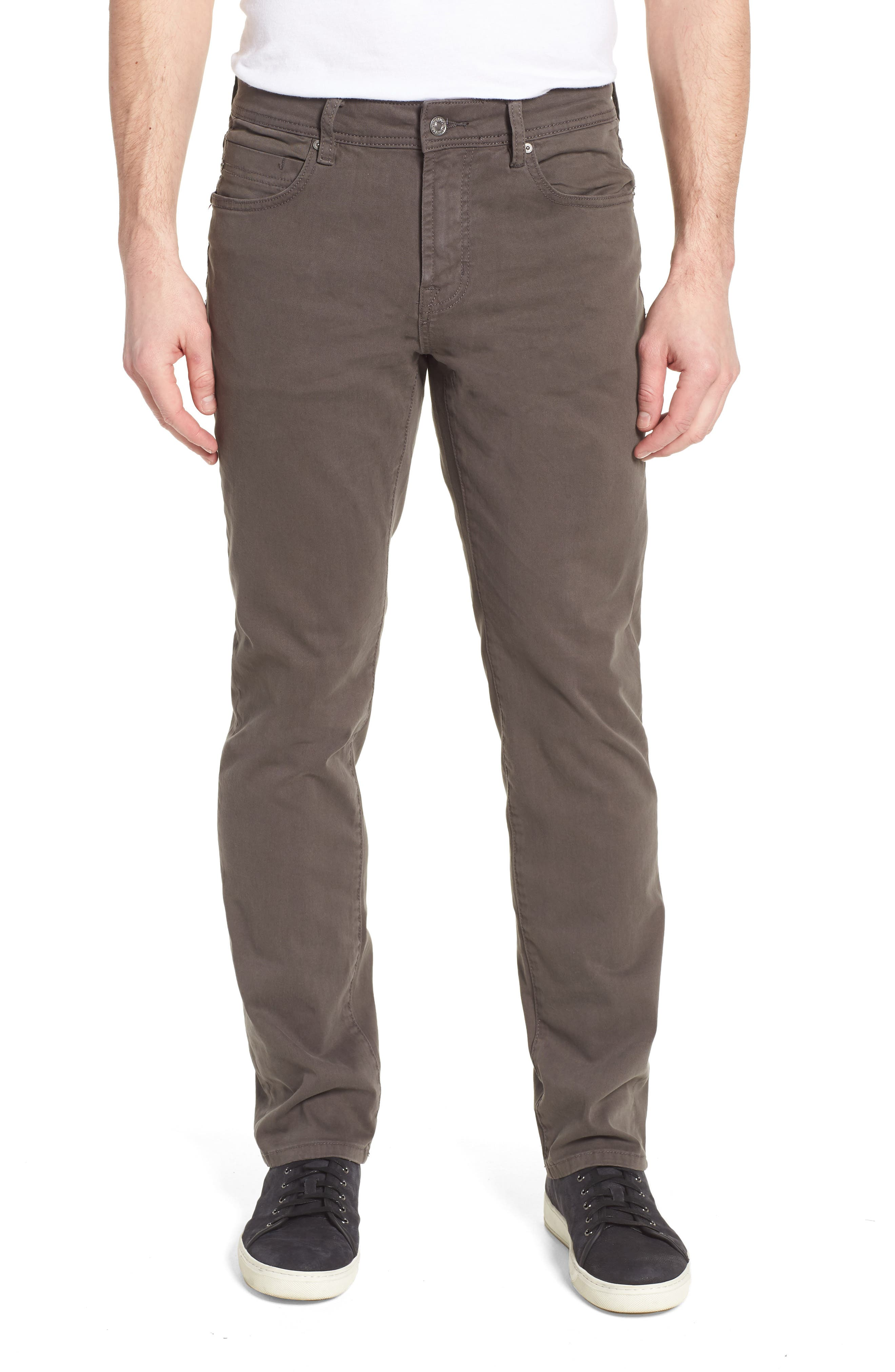 LIVERPOOL, Regent Relaxed Straight Leg Twill Pants, Main thumbnail 1, color, DEEP EARTH