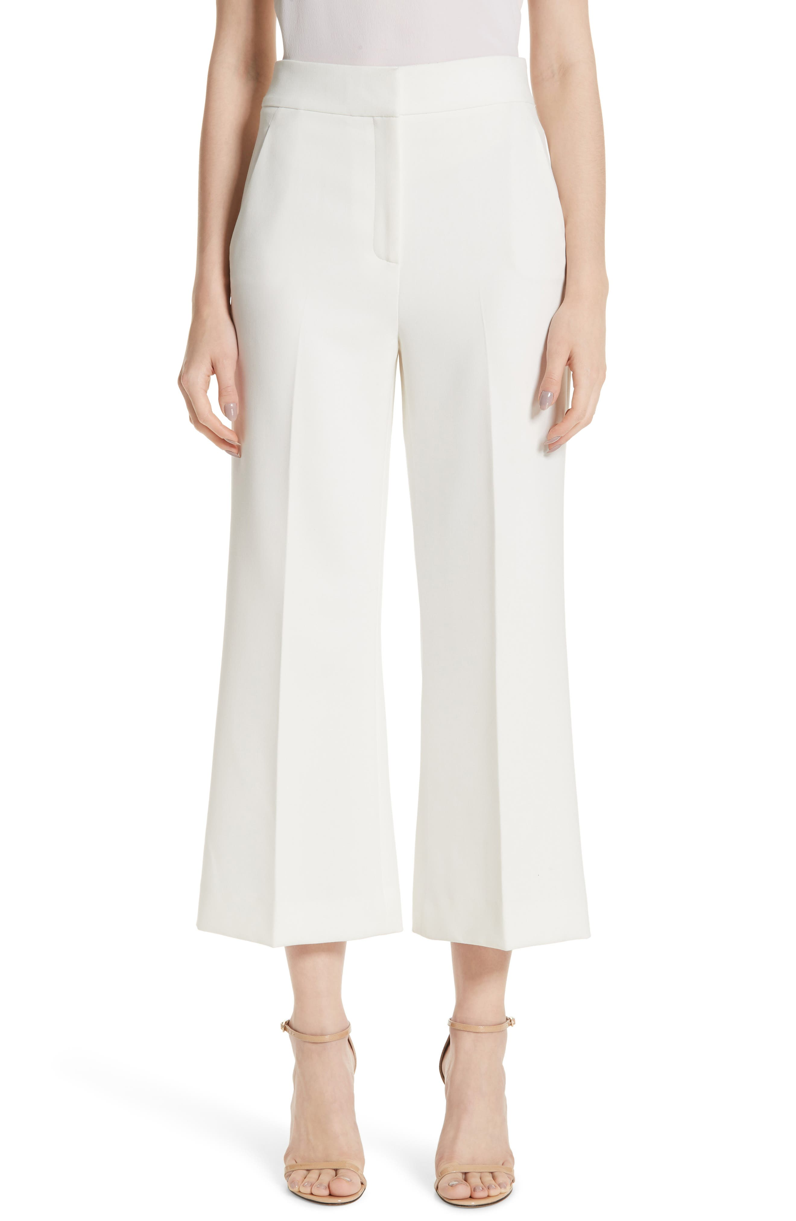 ST. JOHN COLLECTION Bella Double Weave Crop Flare Pants, Main, color, CREAM